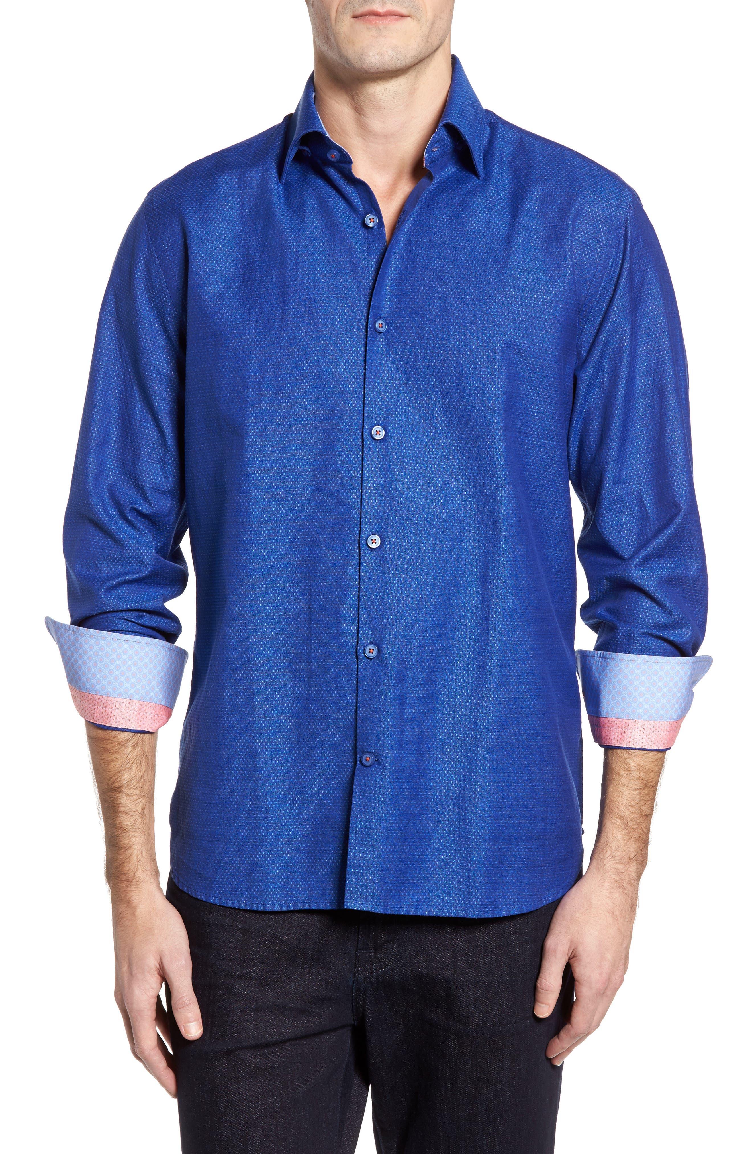 Dobby Cotton & Linen Sport Shirt,                             Main thumbnail 3, color,
