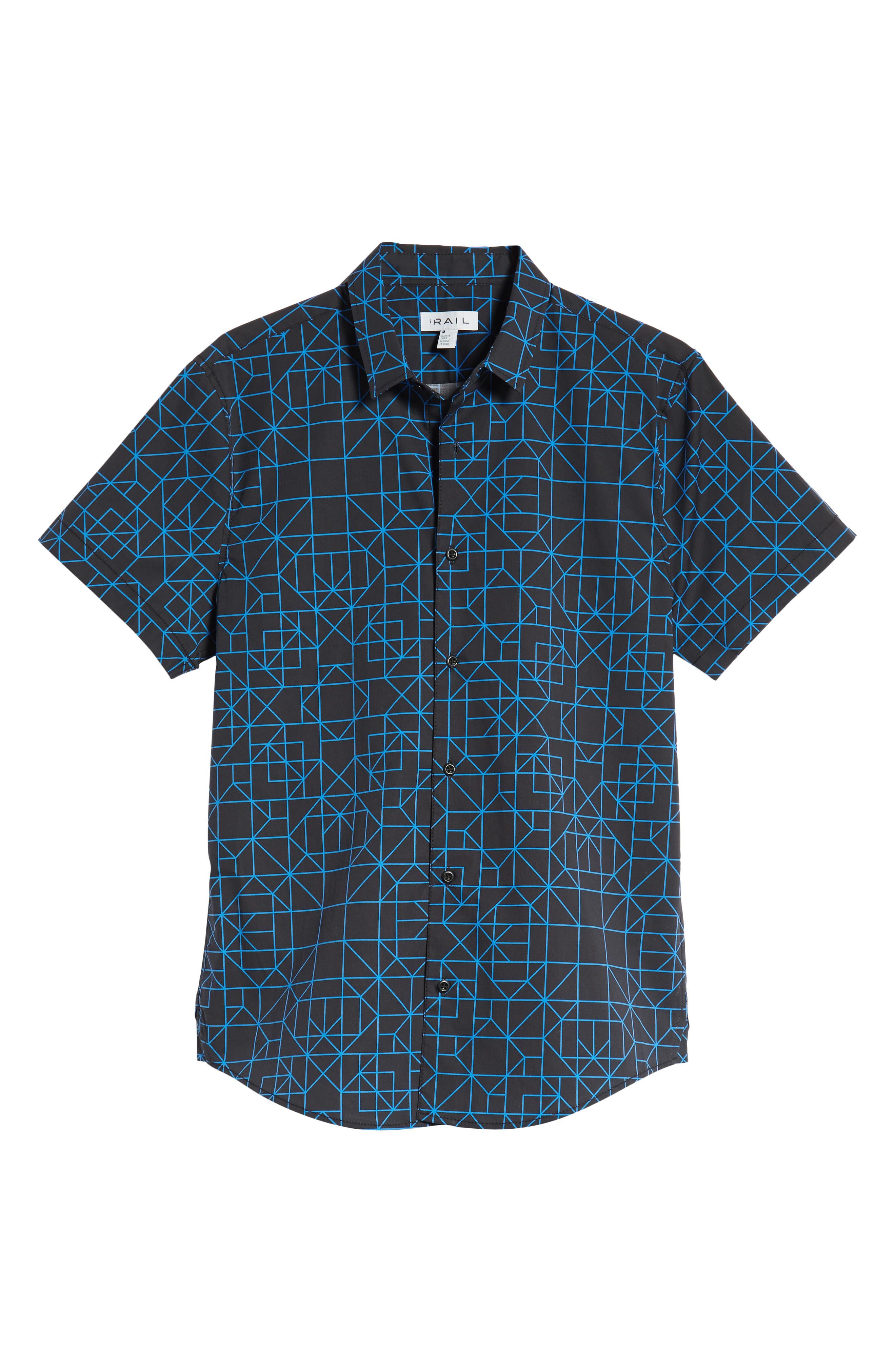 Print Sport Shirt,                             Alternate thumbnail 6, color,                             BLACK BLUE GRID GEO