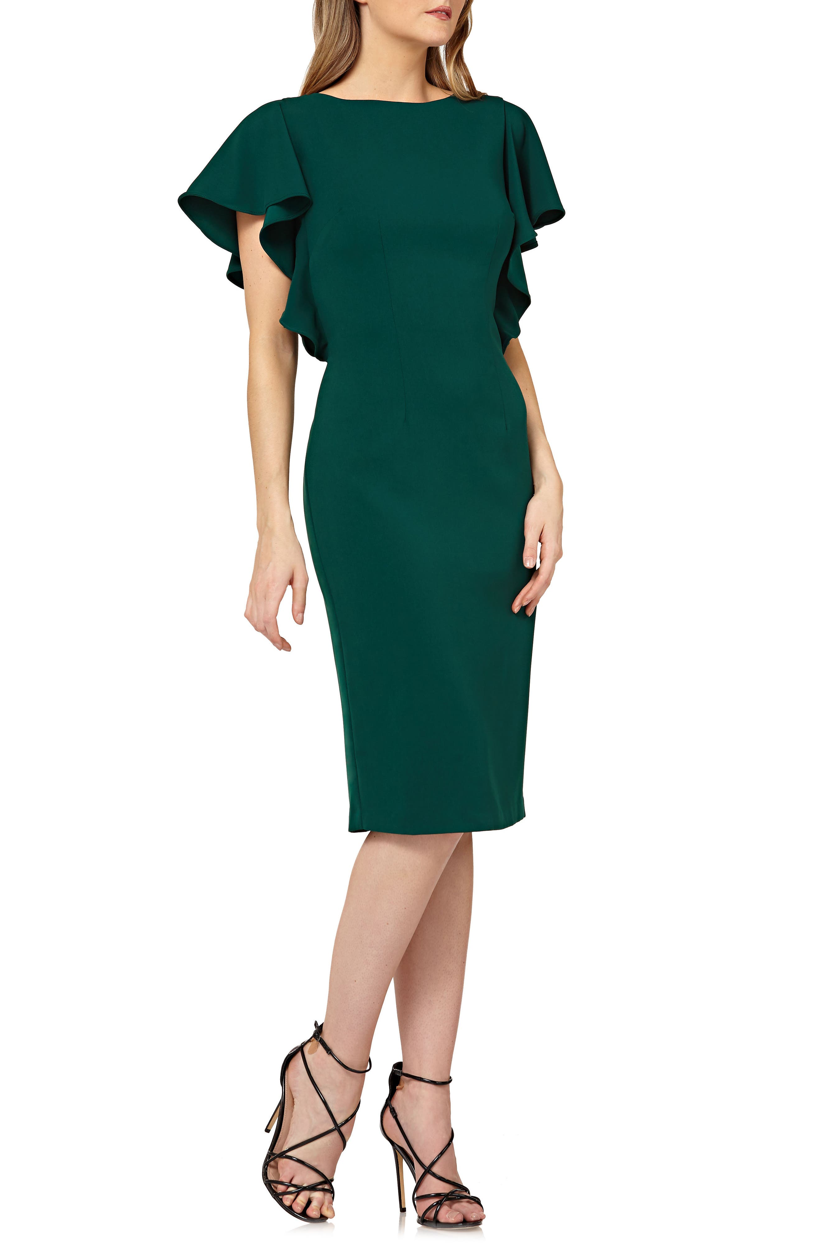 Carmen Marc Valvo Infusion Flutter Sleeve Sheath Dress, Green