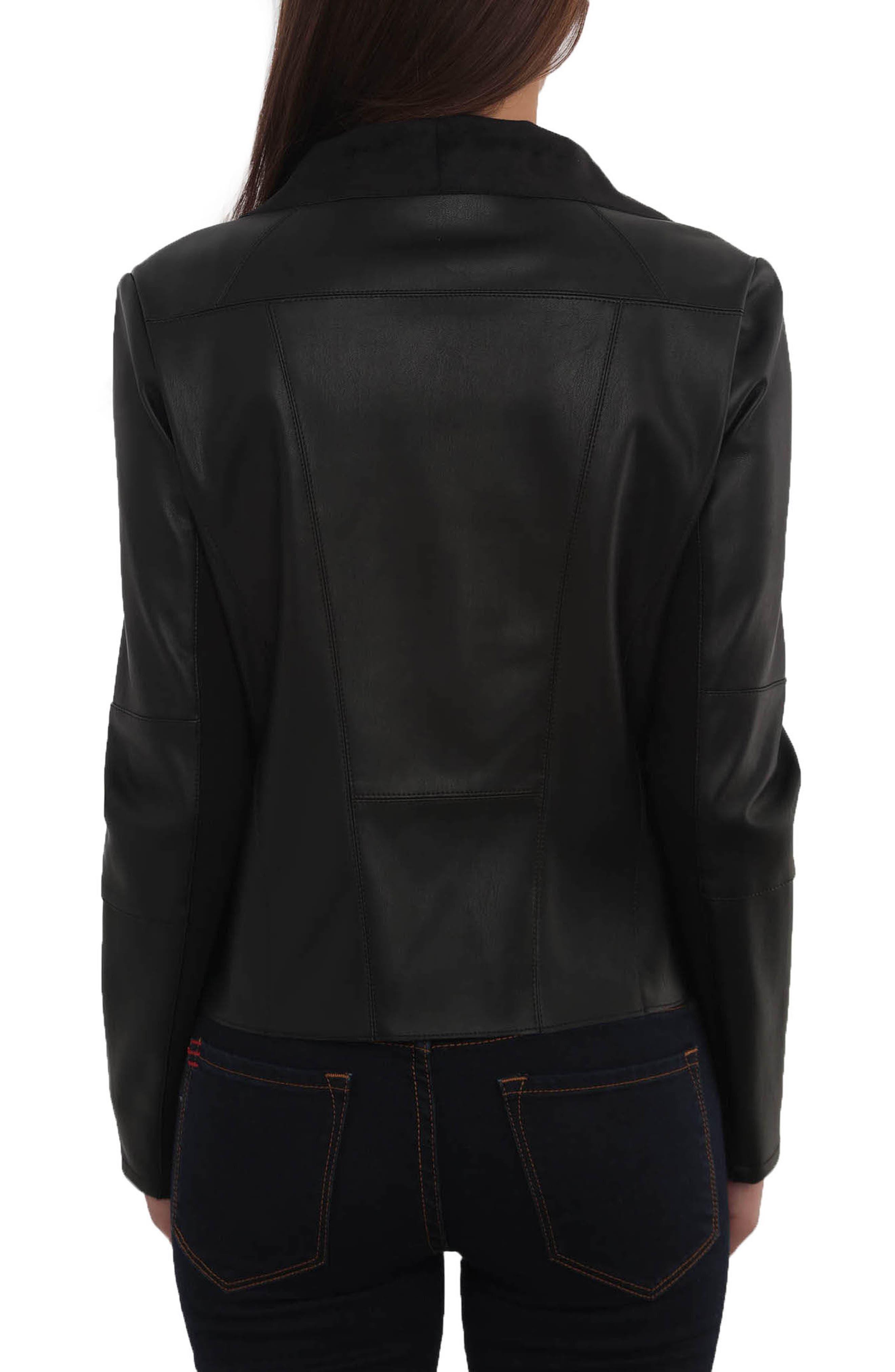 Drape Faux Leather & Faux Suede Jacket,                             Alternate thumbnail 2, color,                             BLACK