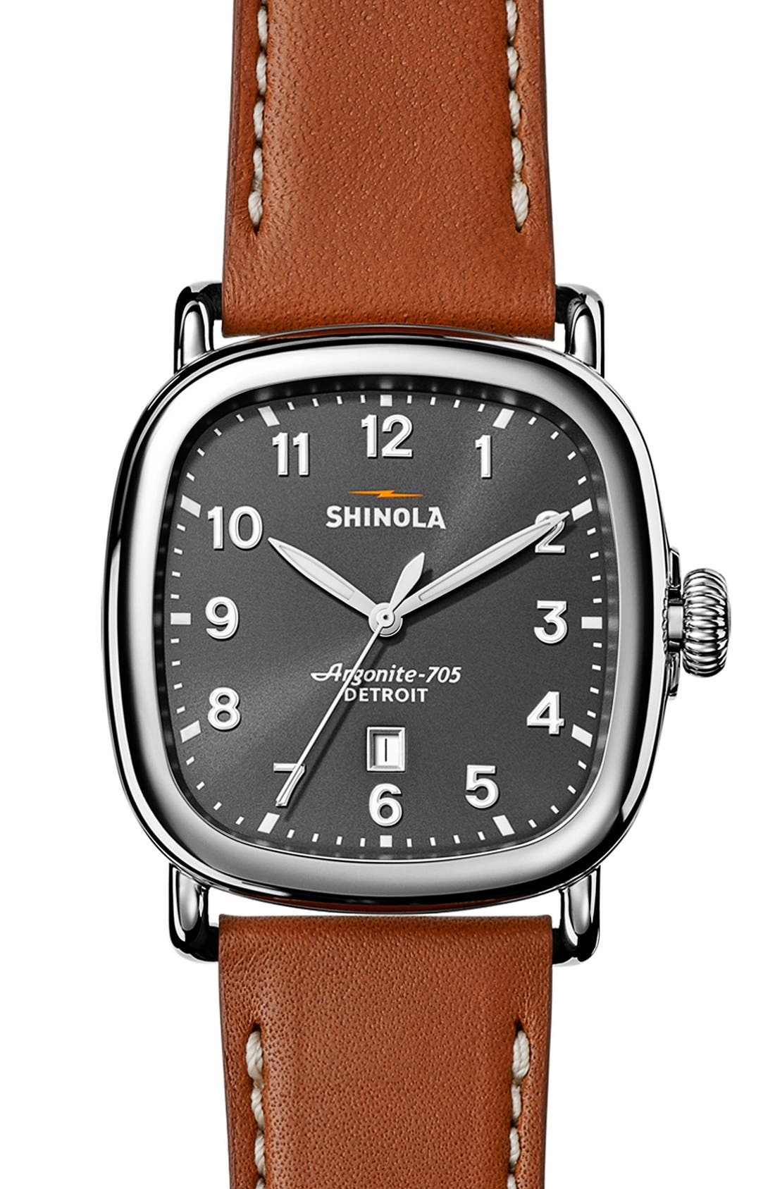 Guardian Leather Strap Watch, 41mm,                         Main,                         color, TAN/ GREY