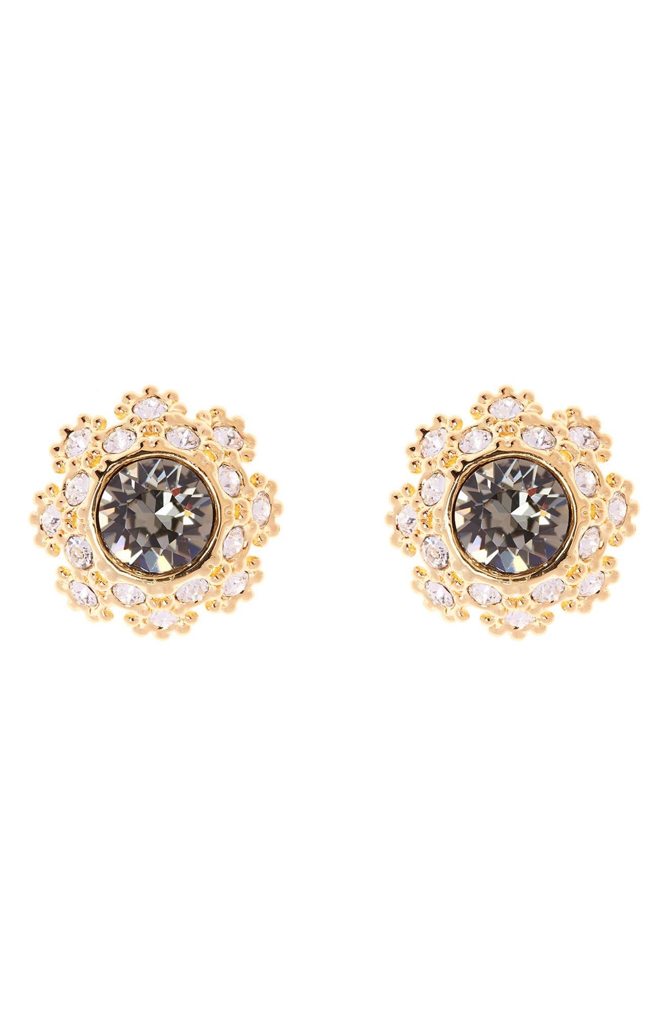 Crystal Daisy Lace Stud Earrings,                             Main thumbnail 1, color,                             009