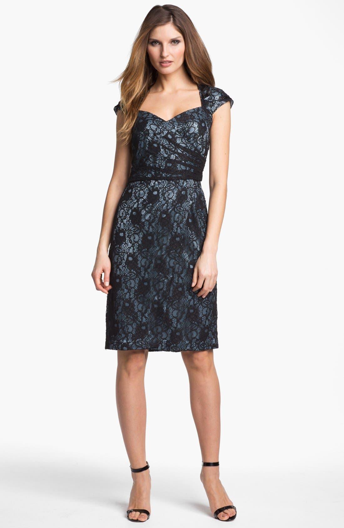 Cap Sleeve Lace Sheath Dress,                             Main thumbnail 1, color,                             400