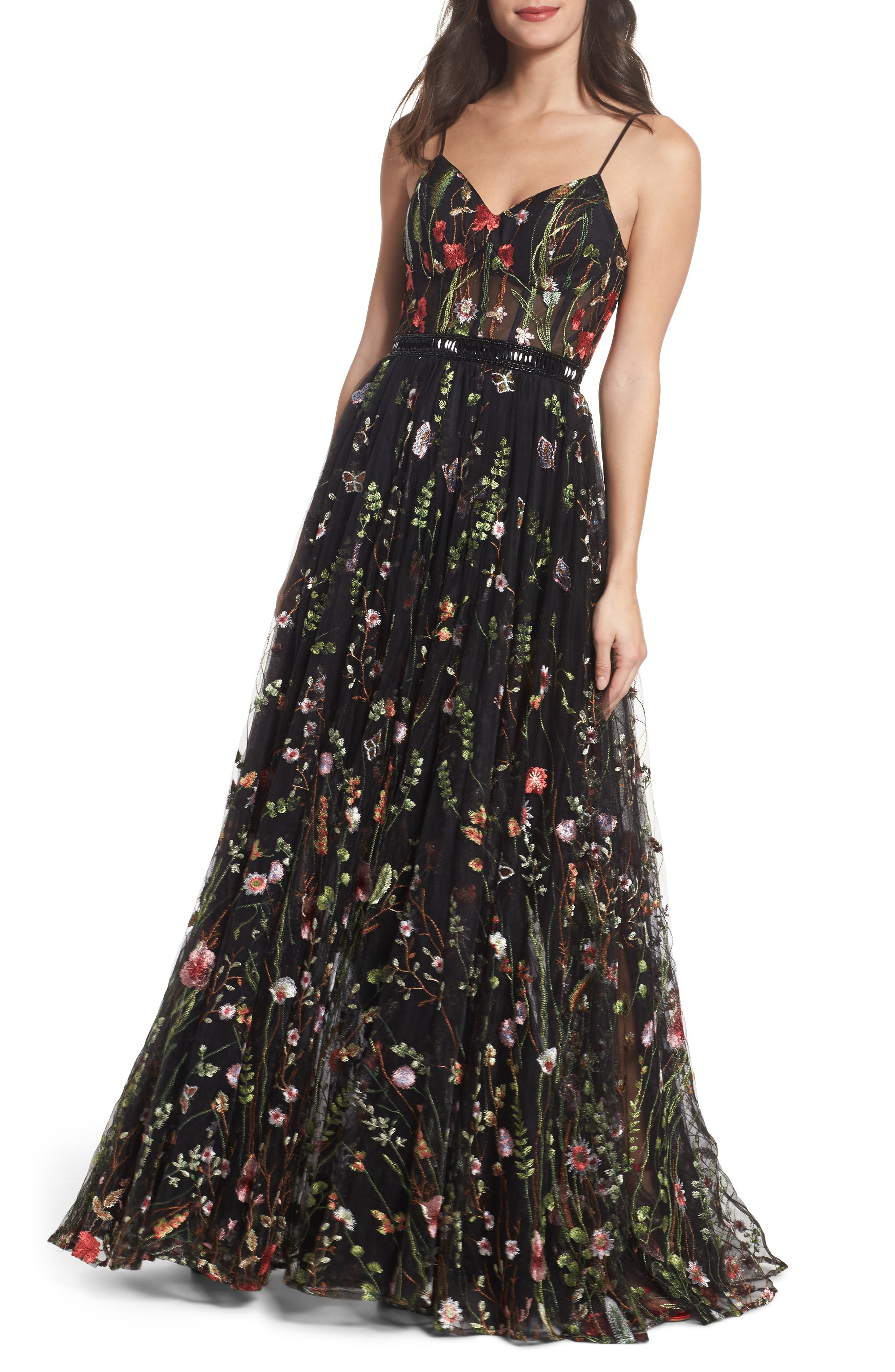Embroidered Bustier Gown,                         Main,                         color, BLACK/MULTI