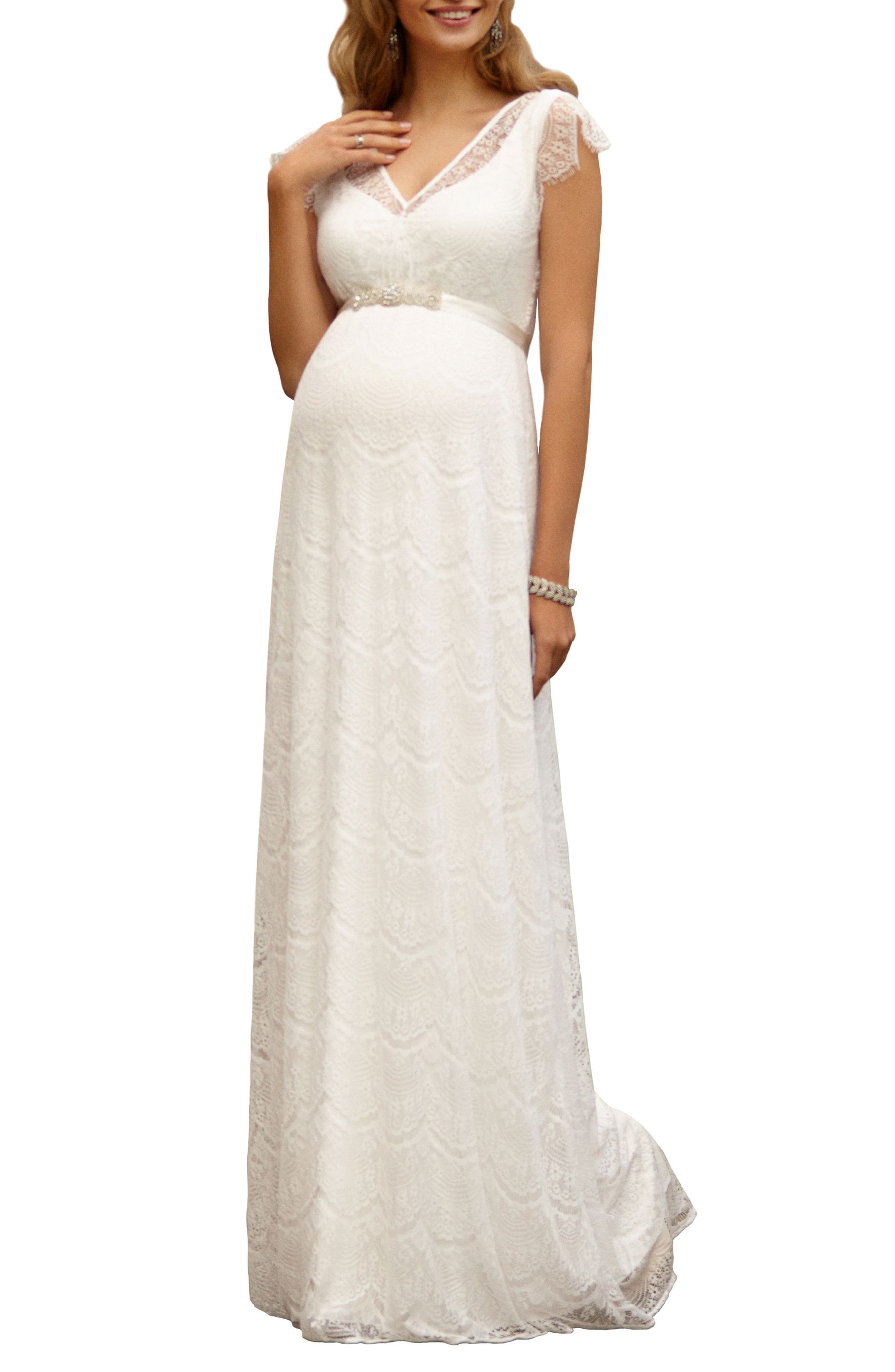 Kristin Long Lace Maternity Gown,                         Main,                         color, IVORY