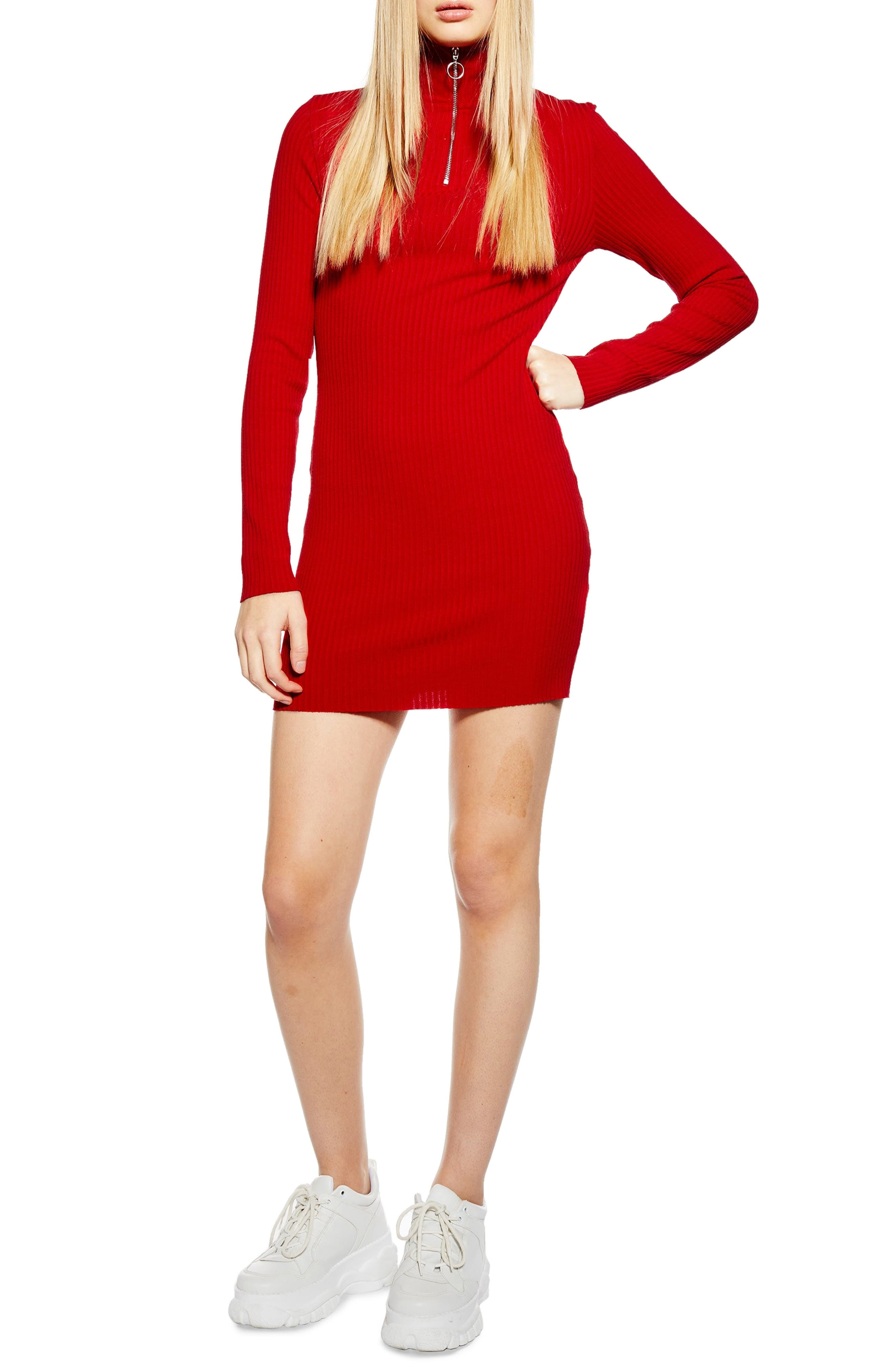 Topshop Ribbed Zip Jersey Dress, US (fits like 2-4) - Red