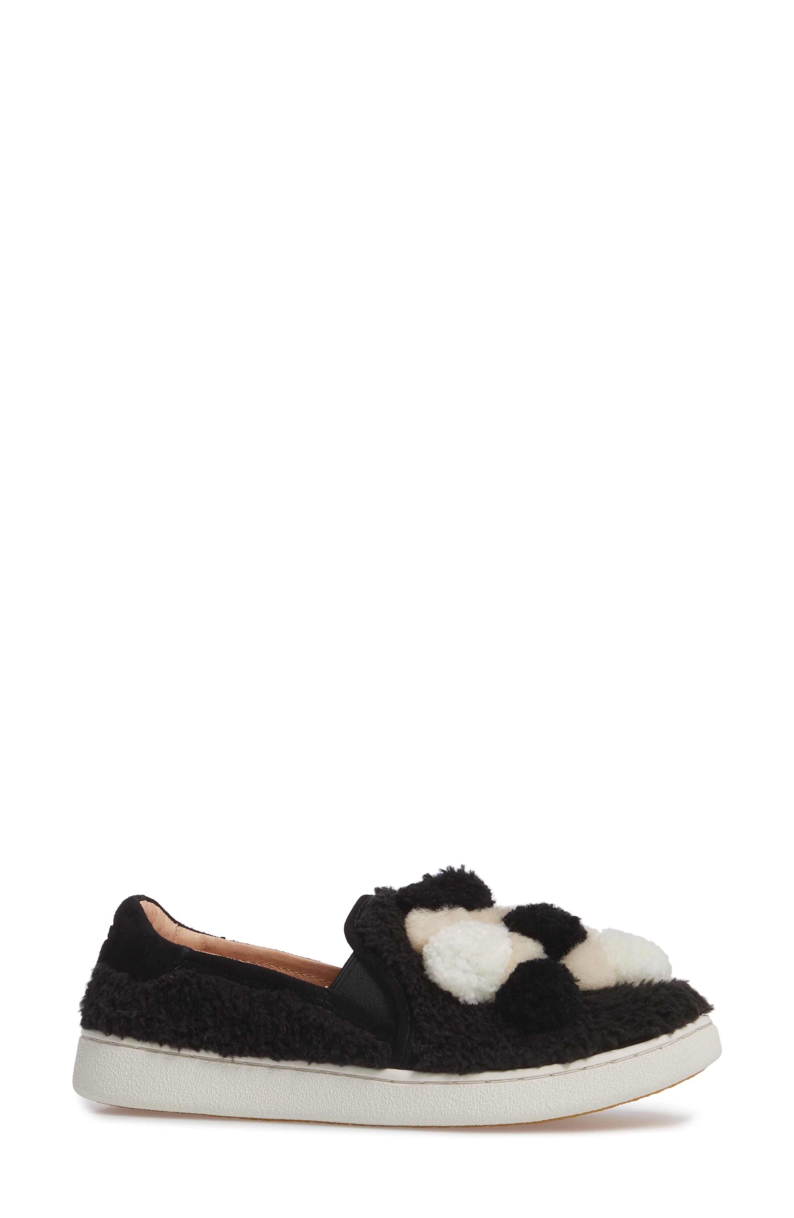 Ricci Plush Genuine Shearling Pompom Slip-On Sneaker,                             Alternate thumbnail 3, color,                             001