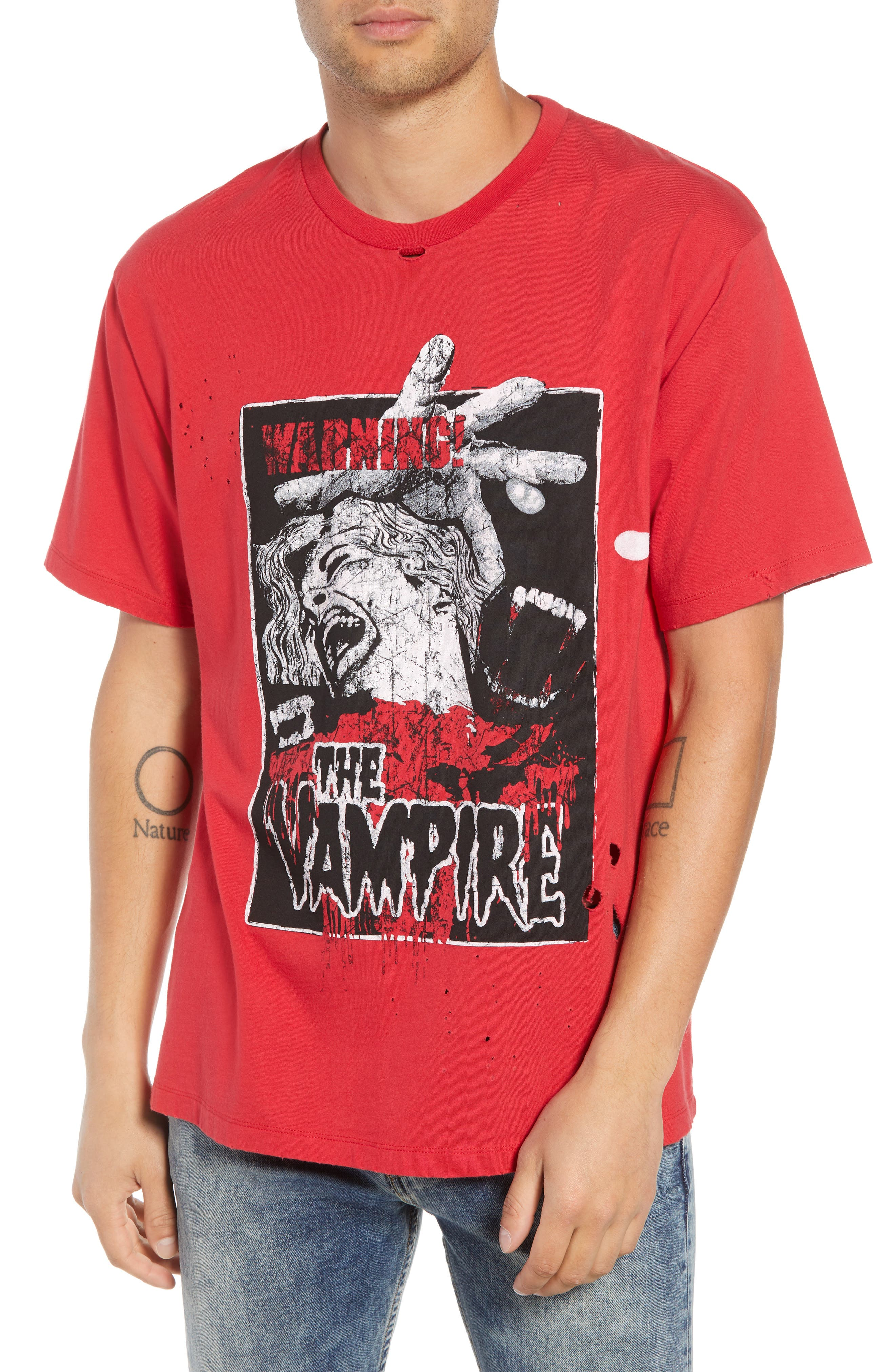 Vampire Distressed Graphic T-Shirt,                             Main thumbnail 1, color,                             RED