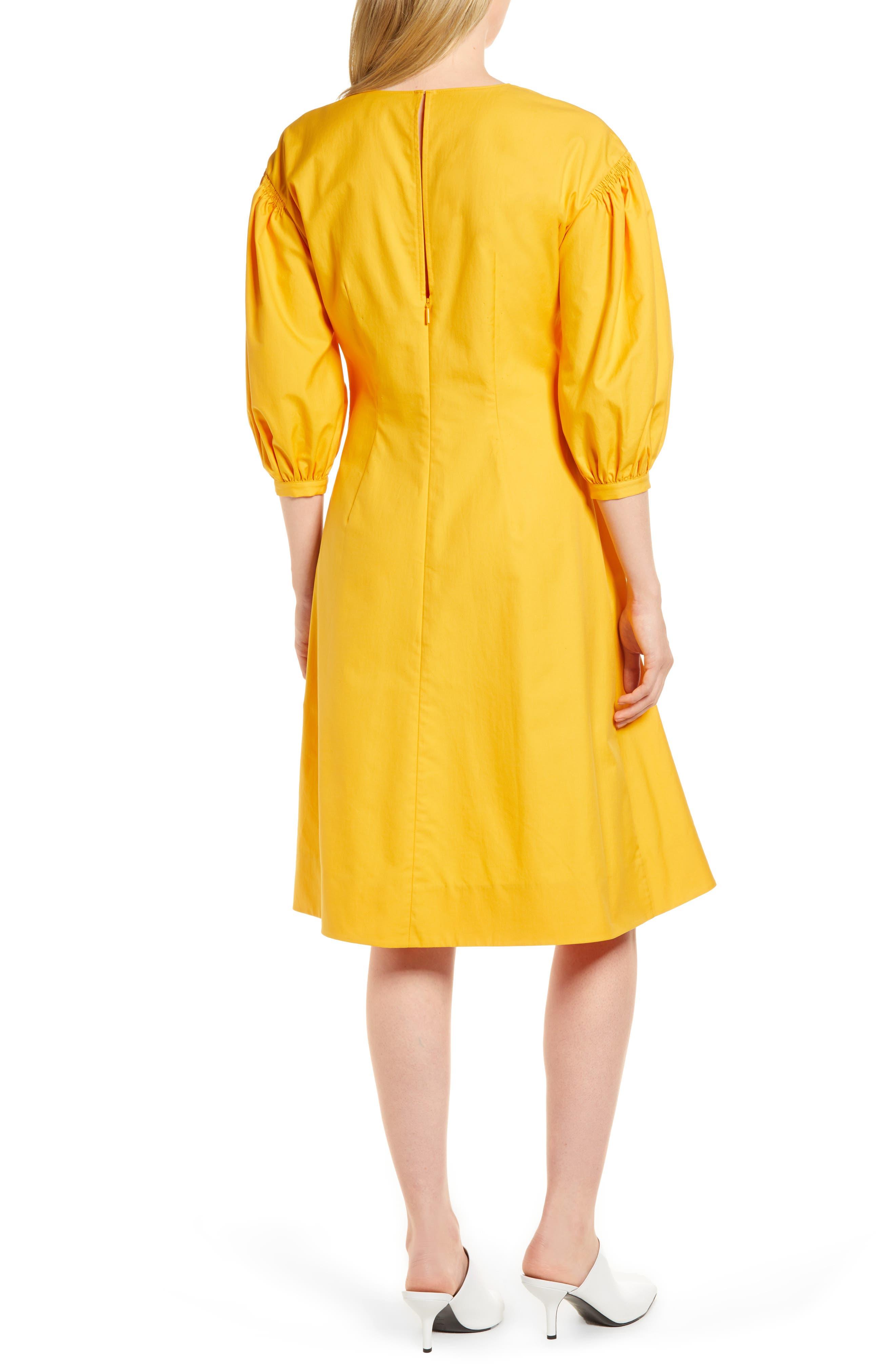 Blouson Sleeve A-Line Twill Dress,                             Alternate thumbnail 4, color,