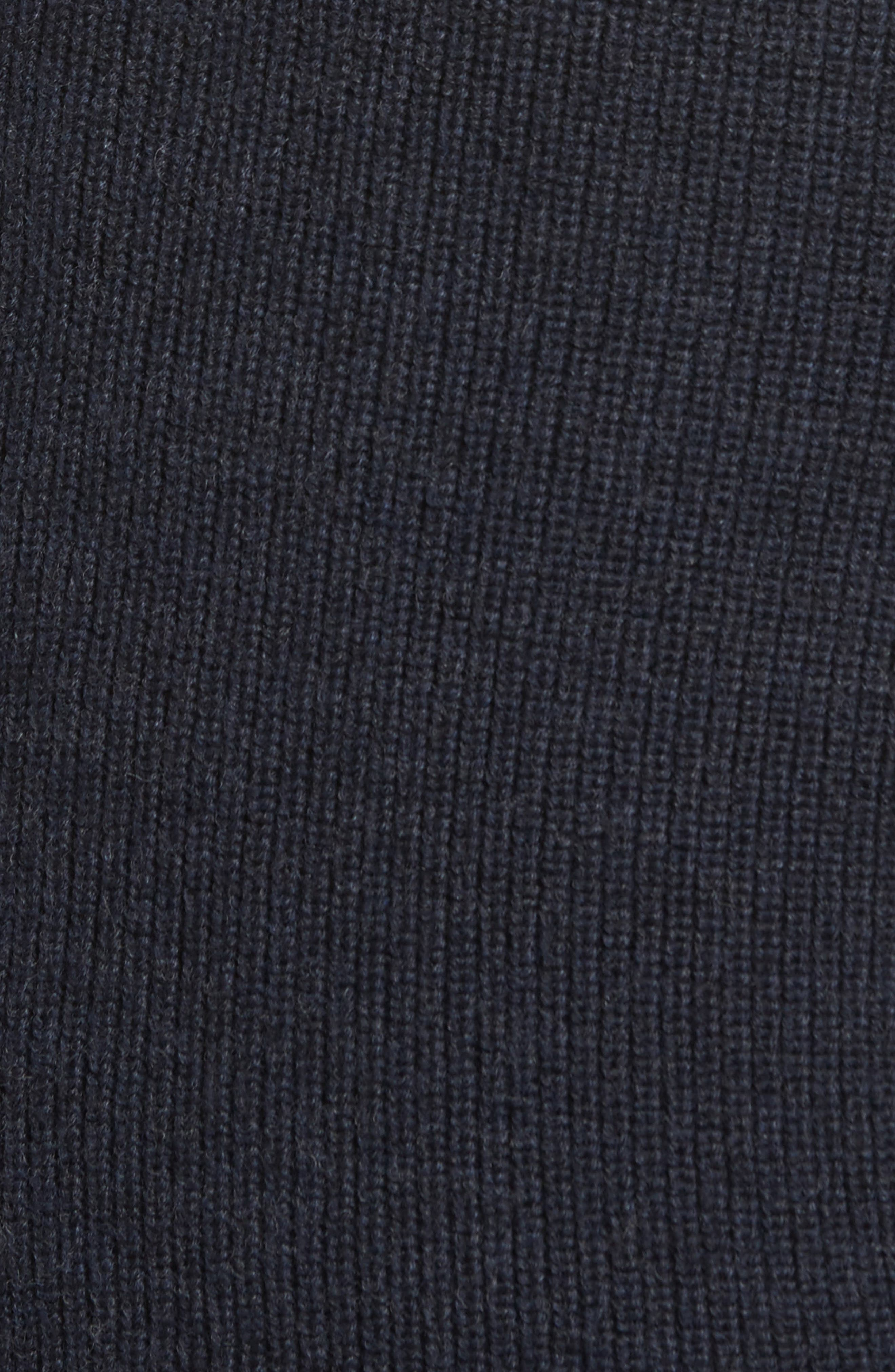 Camerons Track Zip Wool Sweater,                             Alternate thumbnail 5, color,                             MIDNIGHT