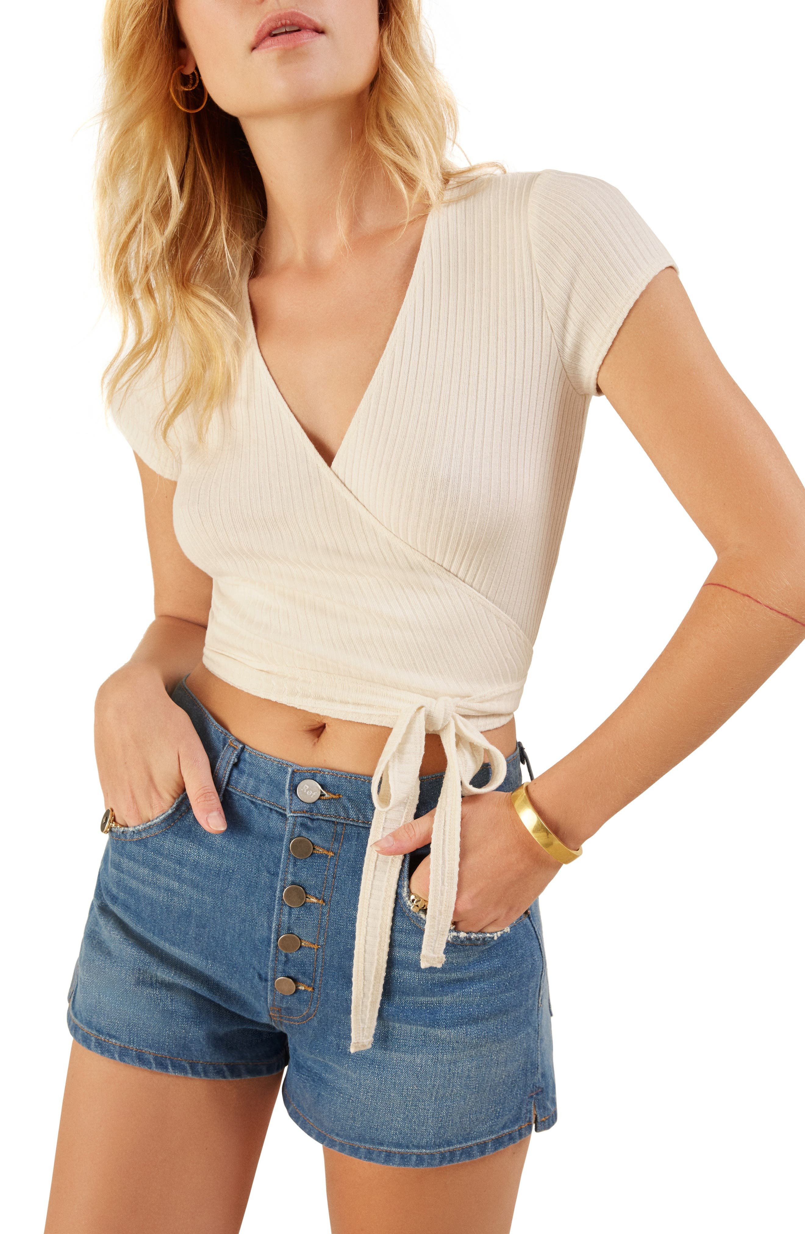 Flora Wrap Tee,                         Main,                         color, IVORY