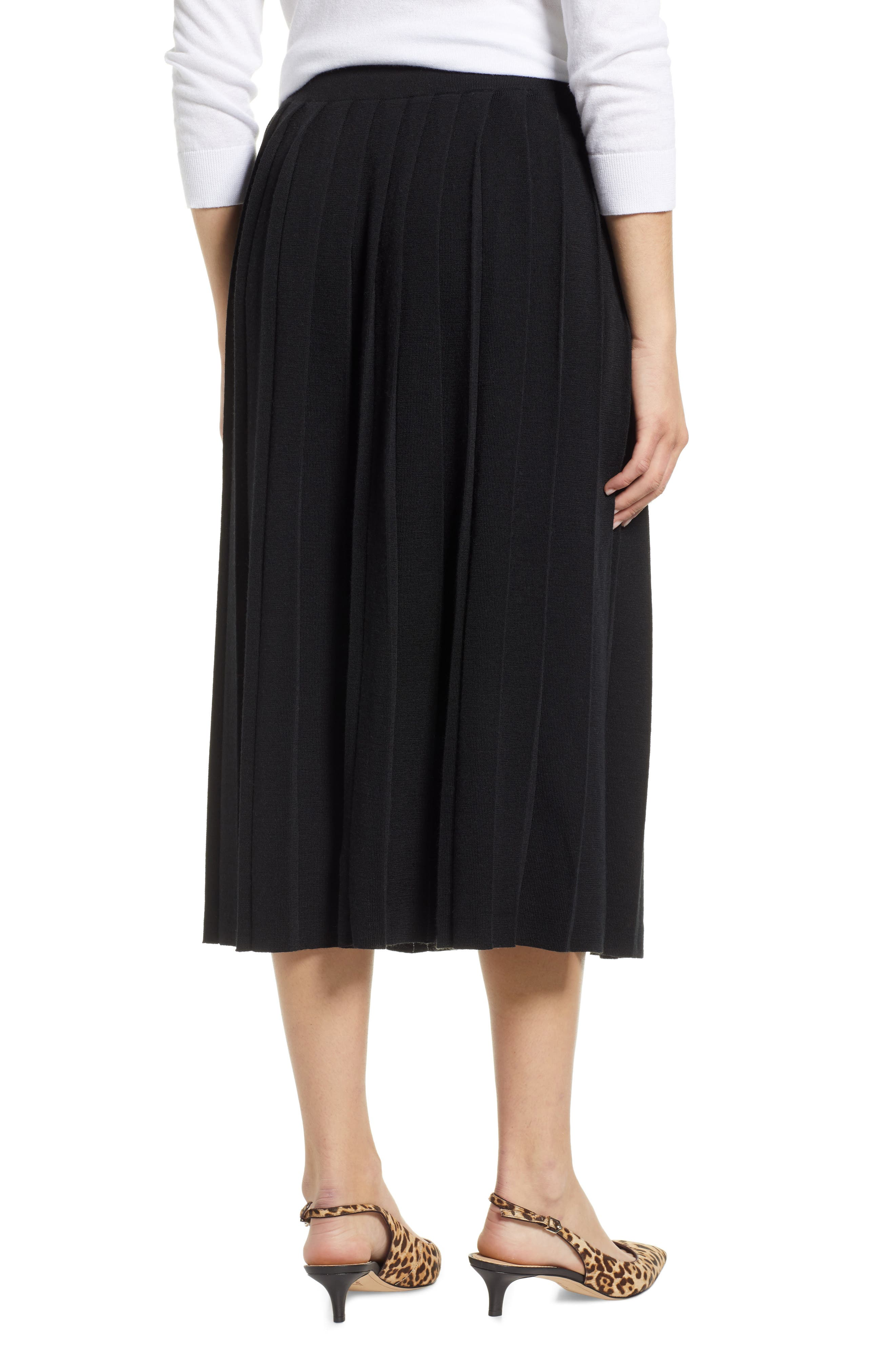 Pleated Sweater Skirt,                             Alternate thumbnail 2, color,                             BLACK
