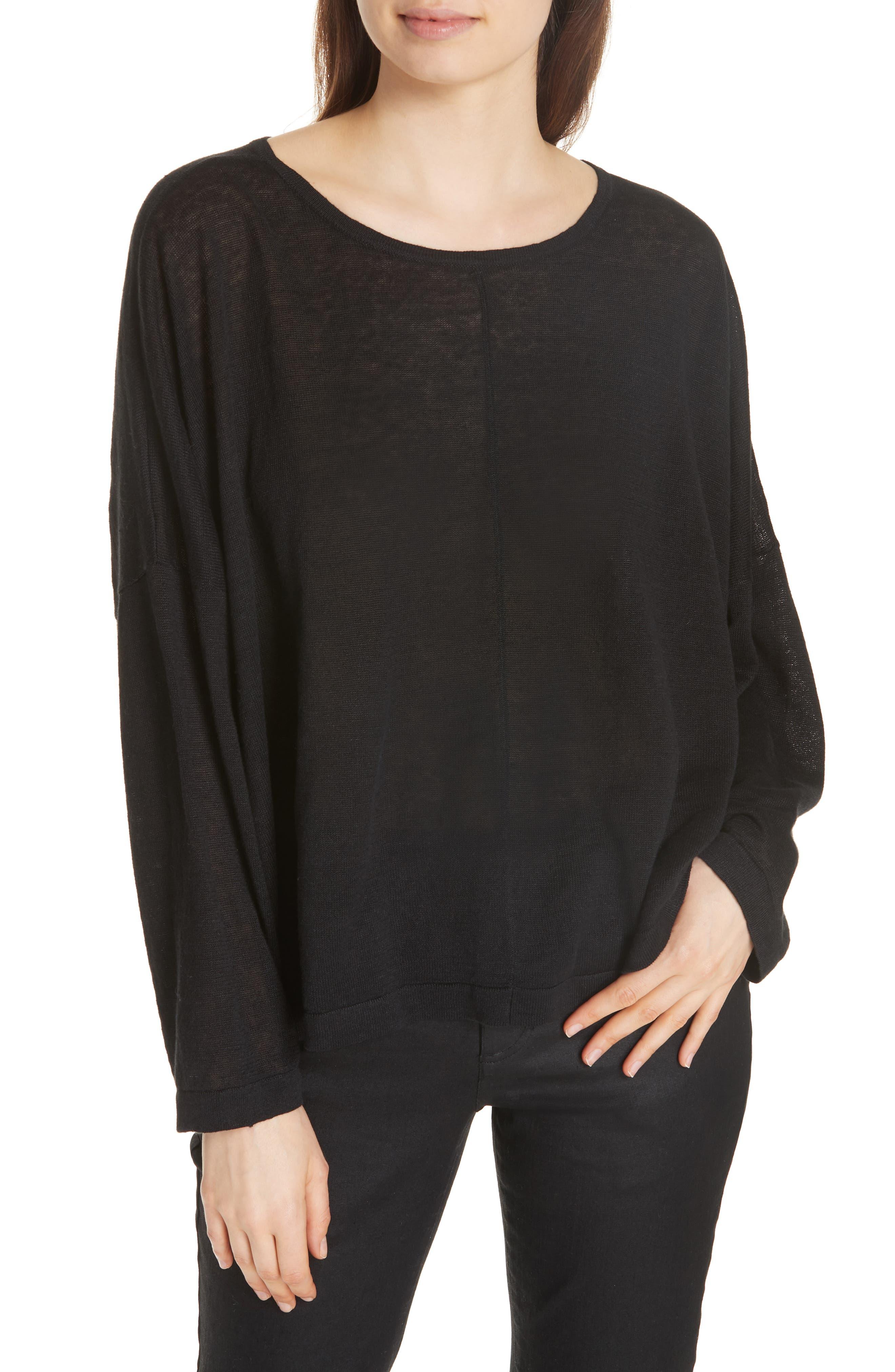 Boxy Organic Linen Sweater,                         Main,                         color, BLACK