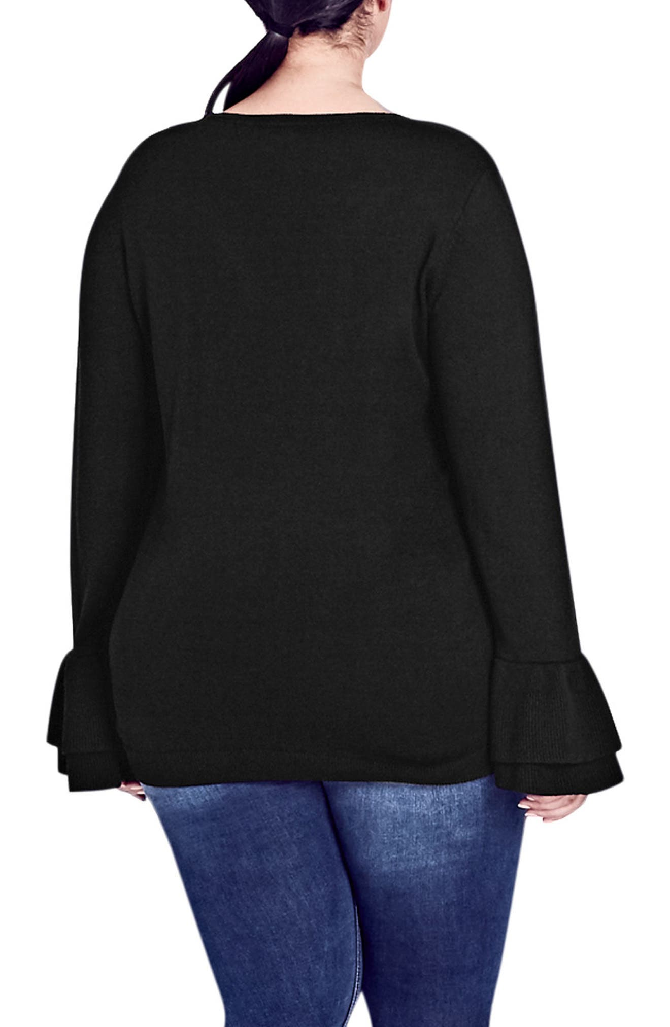 CITY CHIC,                             Double Frill Sleeve Sweater,                             Alternate thumbnail 2, color,                             001