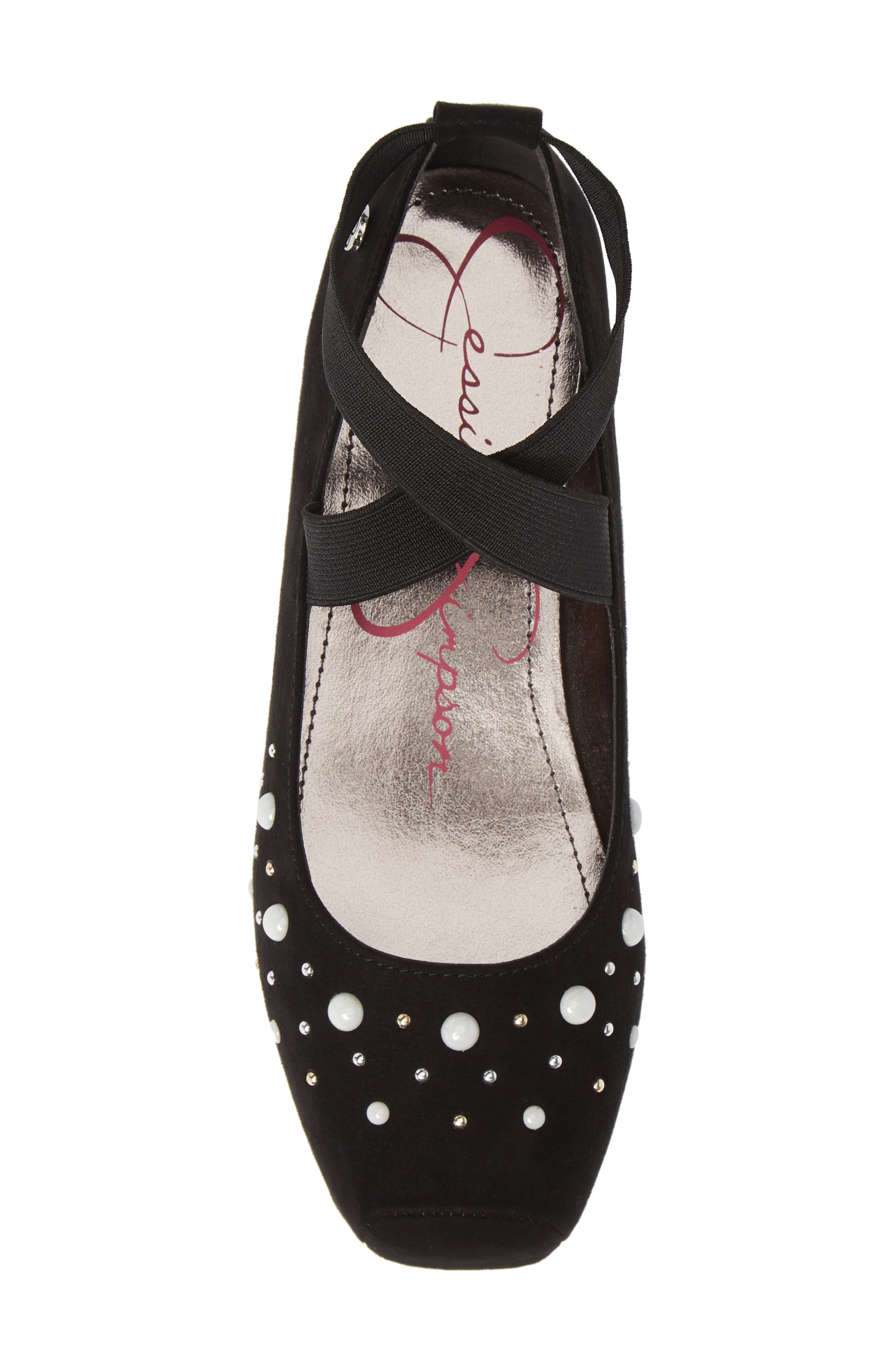 Cross Strap Ballet Flat,                             Alternate thumbnail 5, color,                             BLACK MICRO SUEDE W/ PEARLS