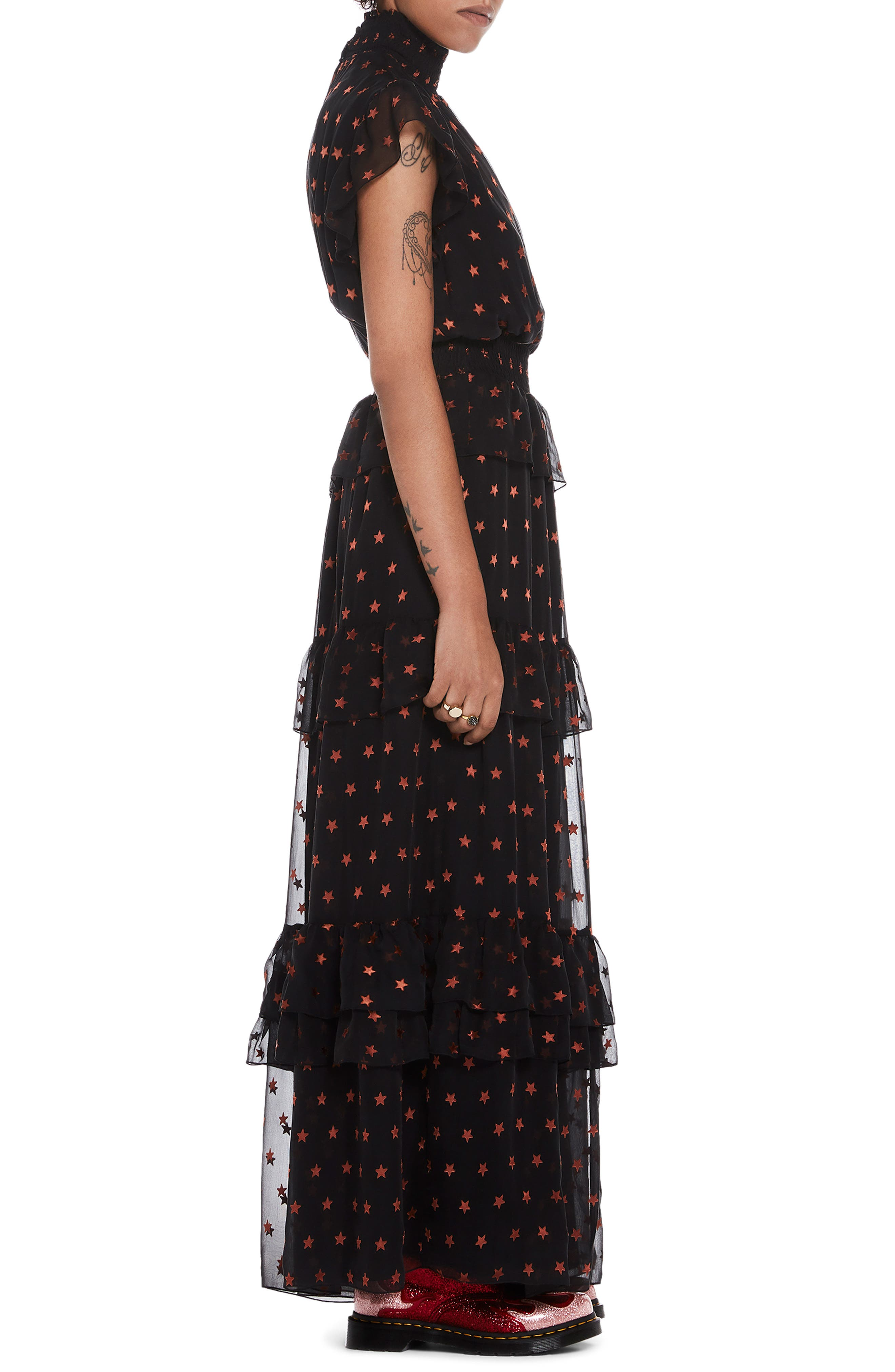High Neck Silk Blend Maxi Dress,                             Alternate thumbnail 3, color,                             BLACK W/ SMALL STAR PRINT