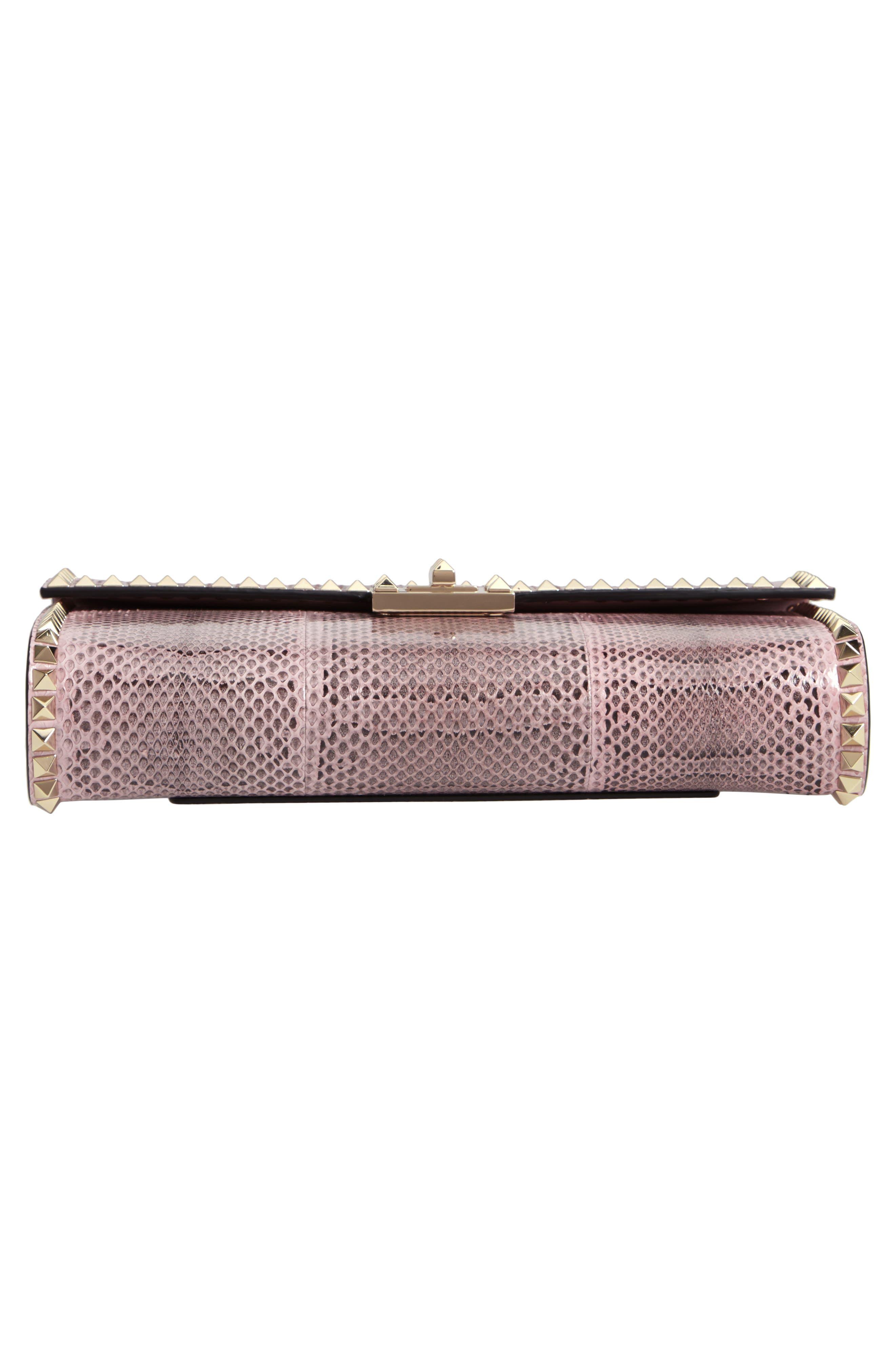 Ayers Rockstud Genuine Snakeskin & Leather Shoulder Bag,                             Alternate thumbnail 6, color,                             LIP