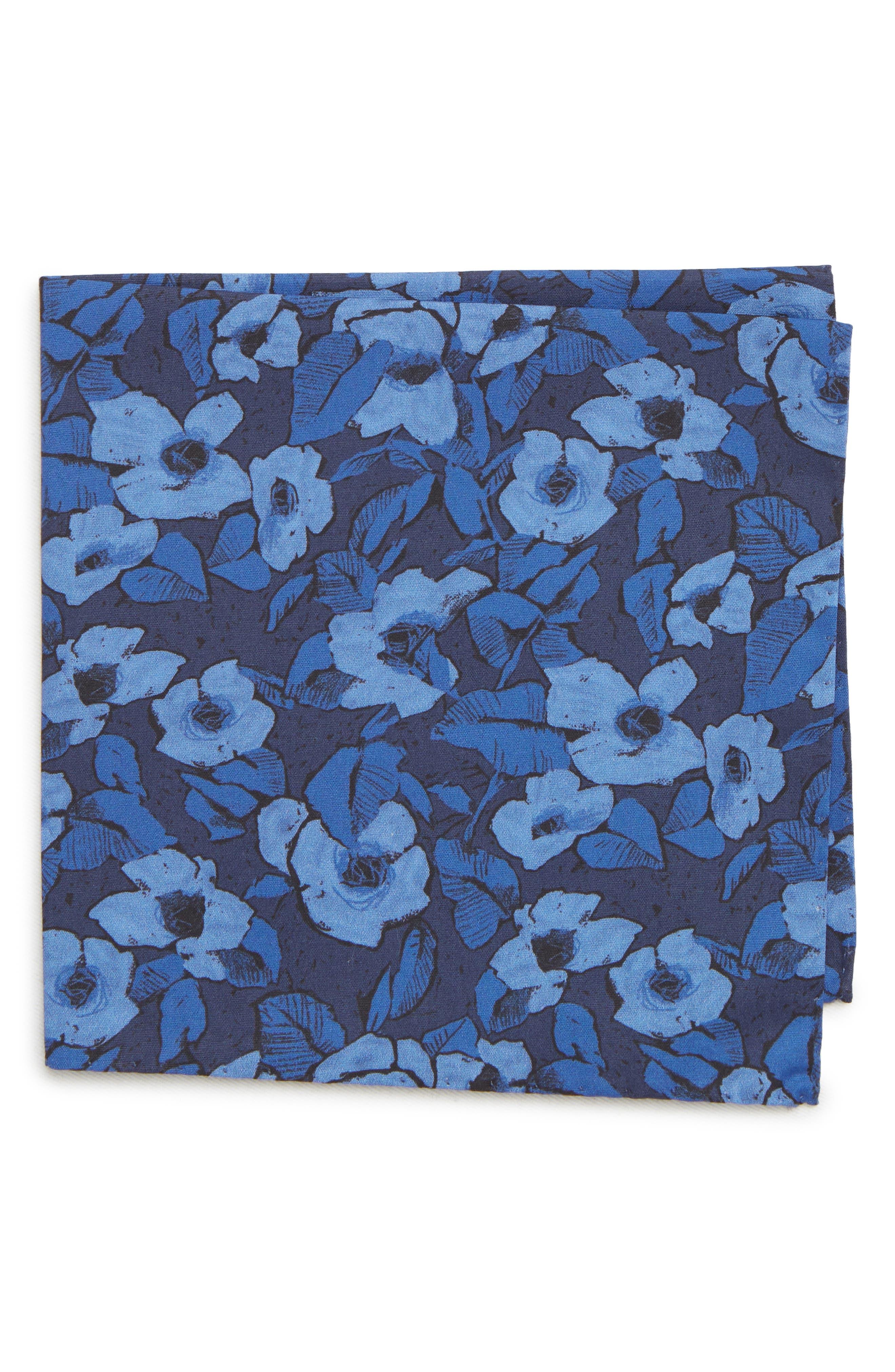Floral Cotton Pocket Square,                         Main,                         color, NAVY FLORAL
