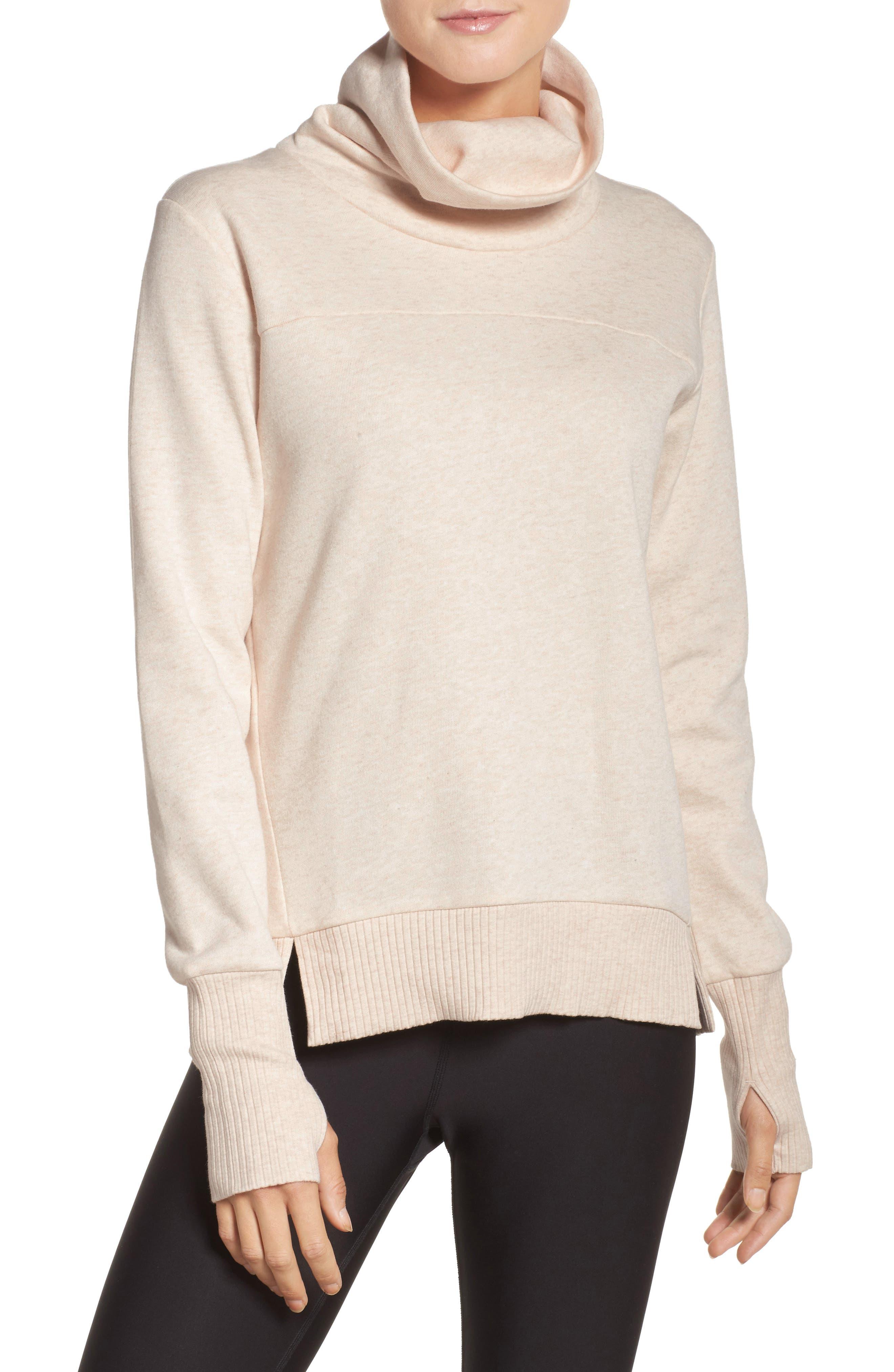 'Haze' Funnel Neck Sweatshirt, Main, color, PRISTINE HEATHER