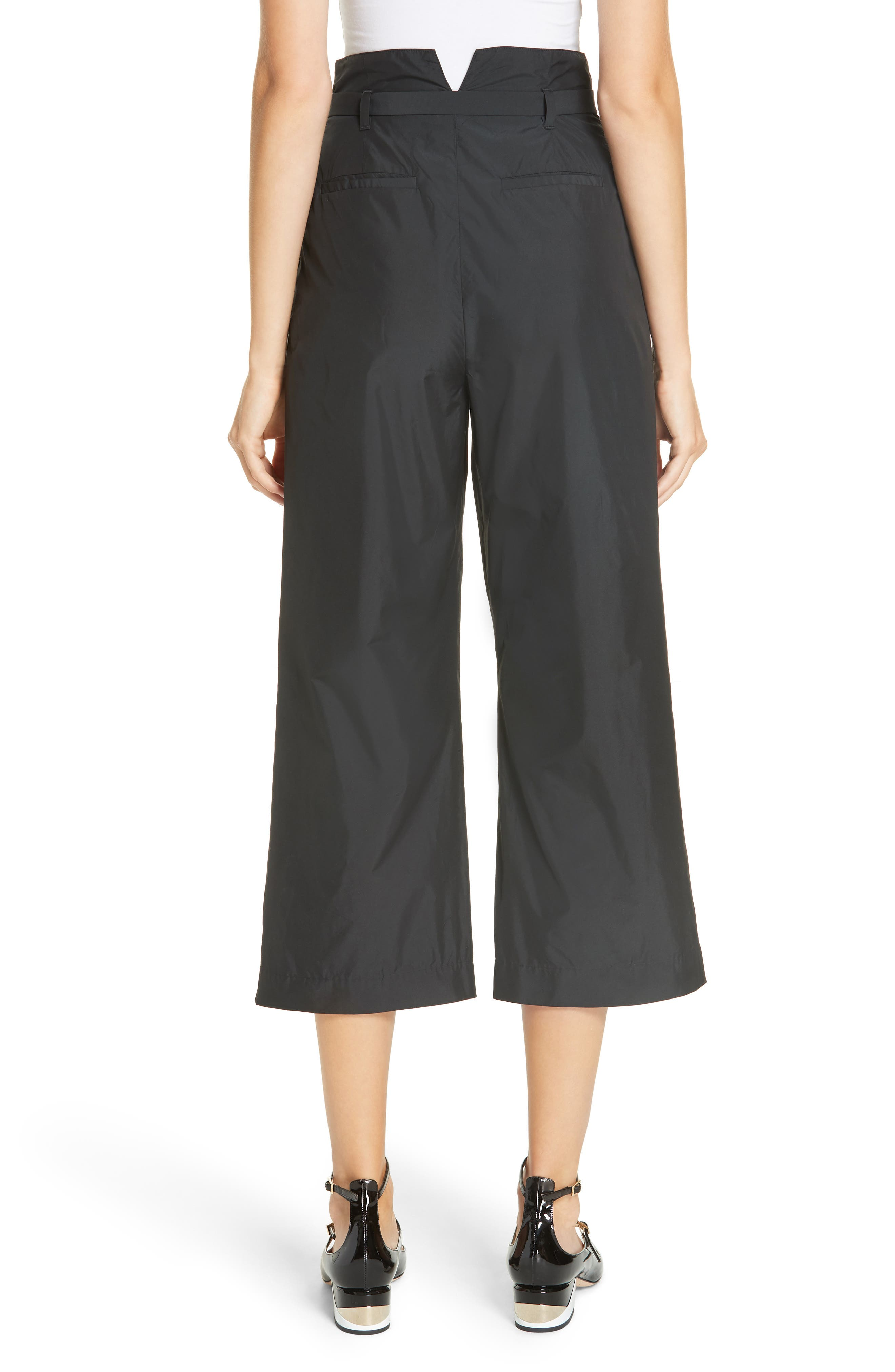 Belted Pleat Front Pants,                             Alternate thumbnail 2, color,                             BLACK