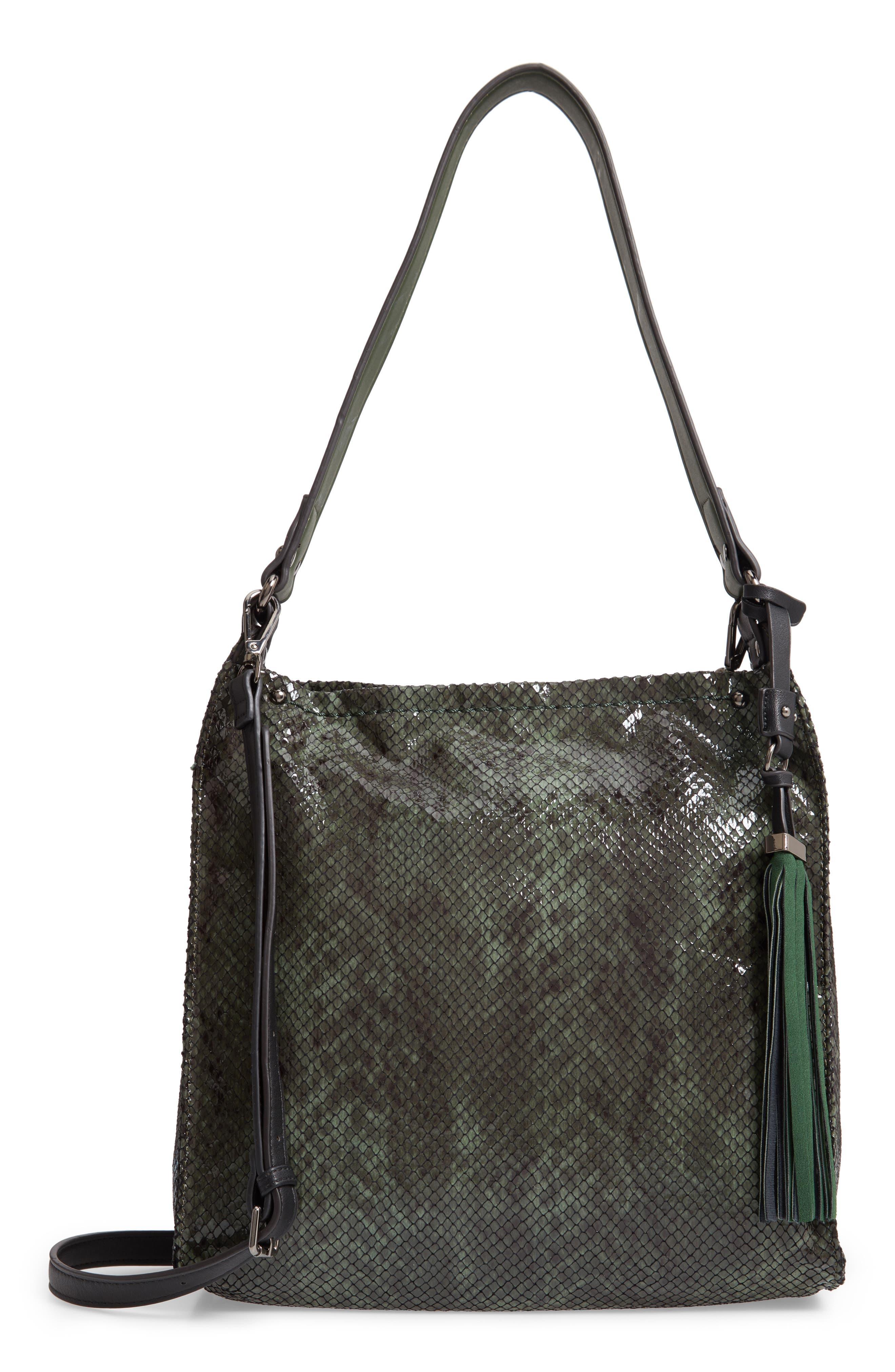 SONDRA ROBERTS Snake Embossed Faux Leather Hobo - Green