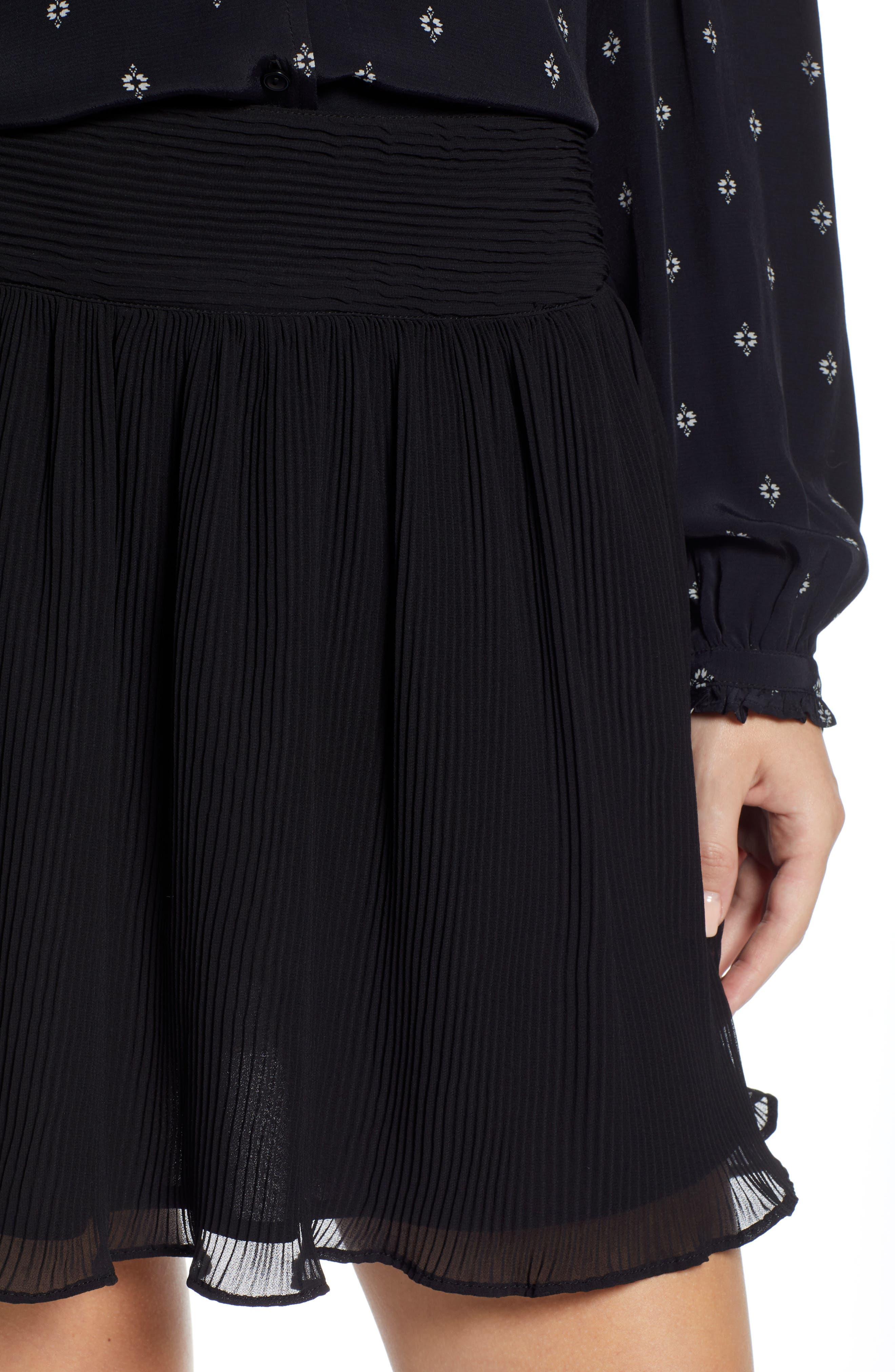 Pleated Flounce Miniskirt,                             Alternate thumbnail 5, color,                             001