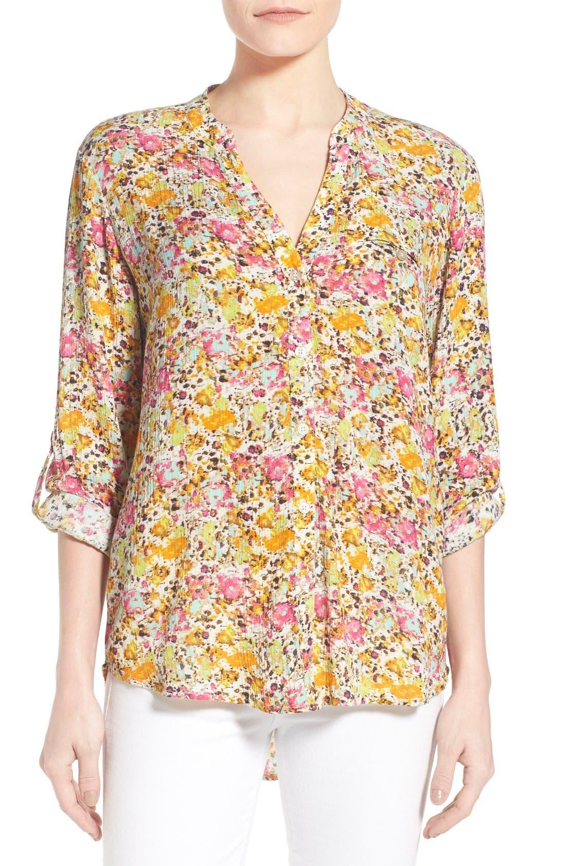 'Jasmine' Floral Print Roll Sleeve Blouse,                         Main,                         color, 301