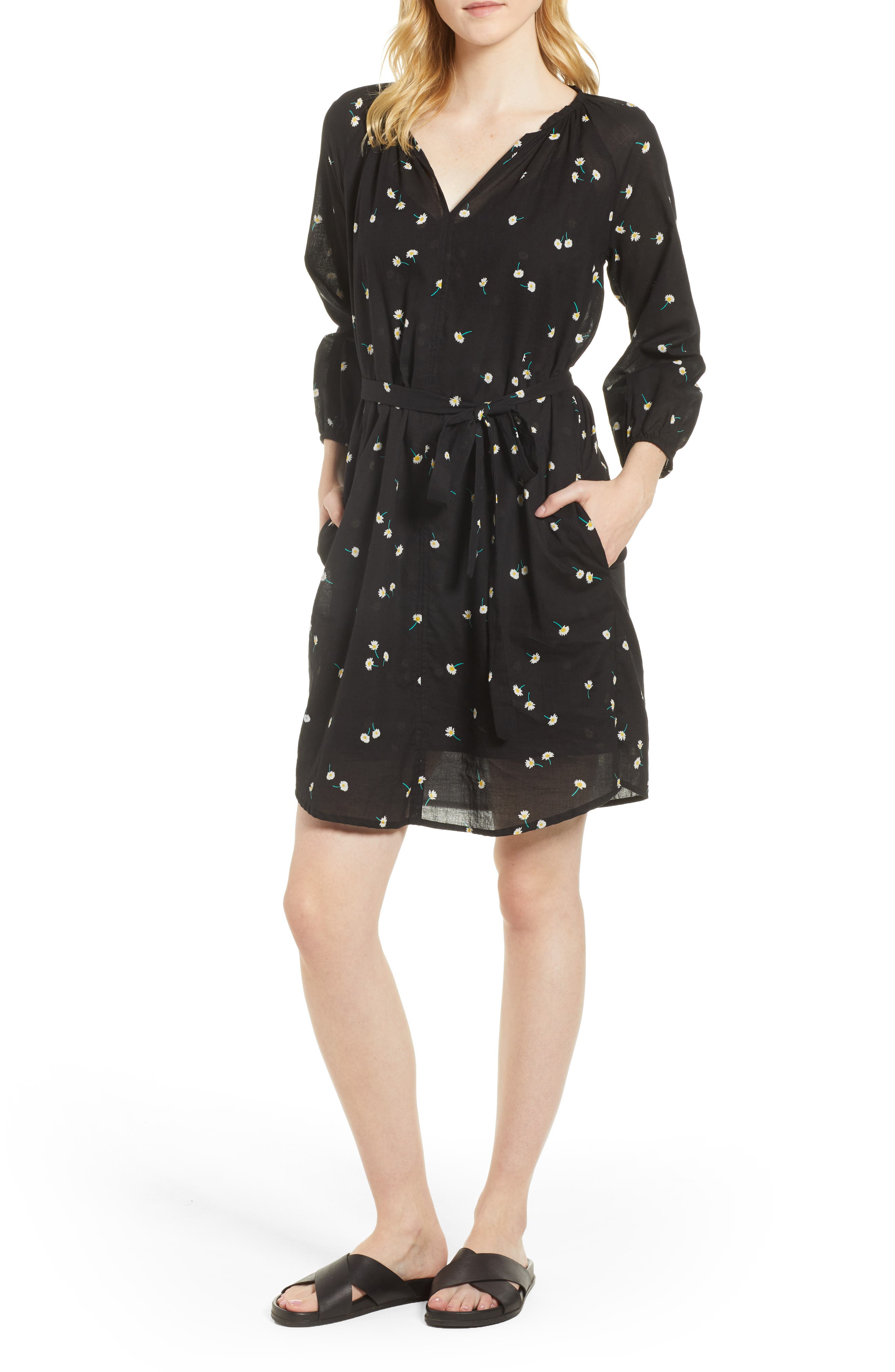 Printed Cotton Gauze Dress,                         Main,                         color, 008