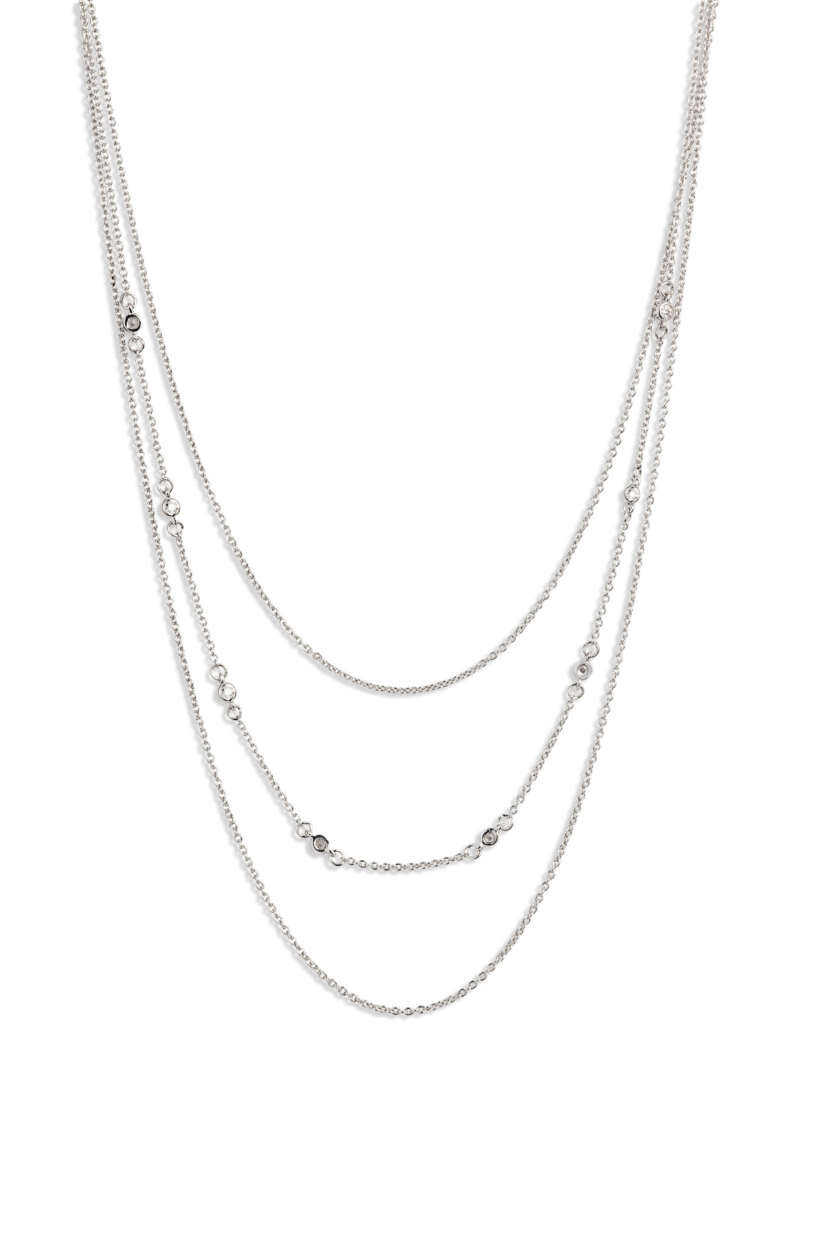 Shimmer Layered Necklace,                         Main,                         color, SILVER