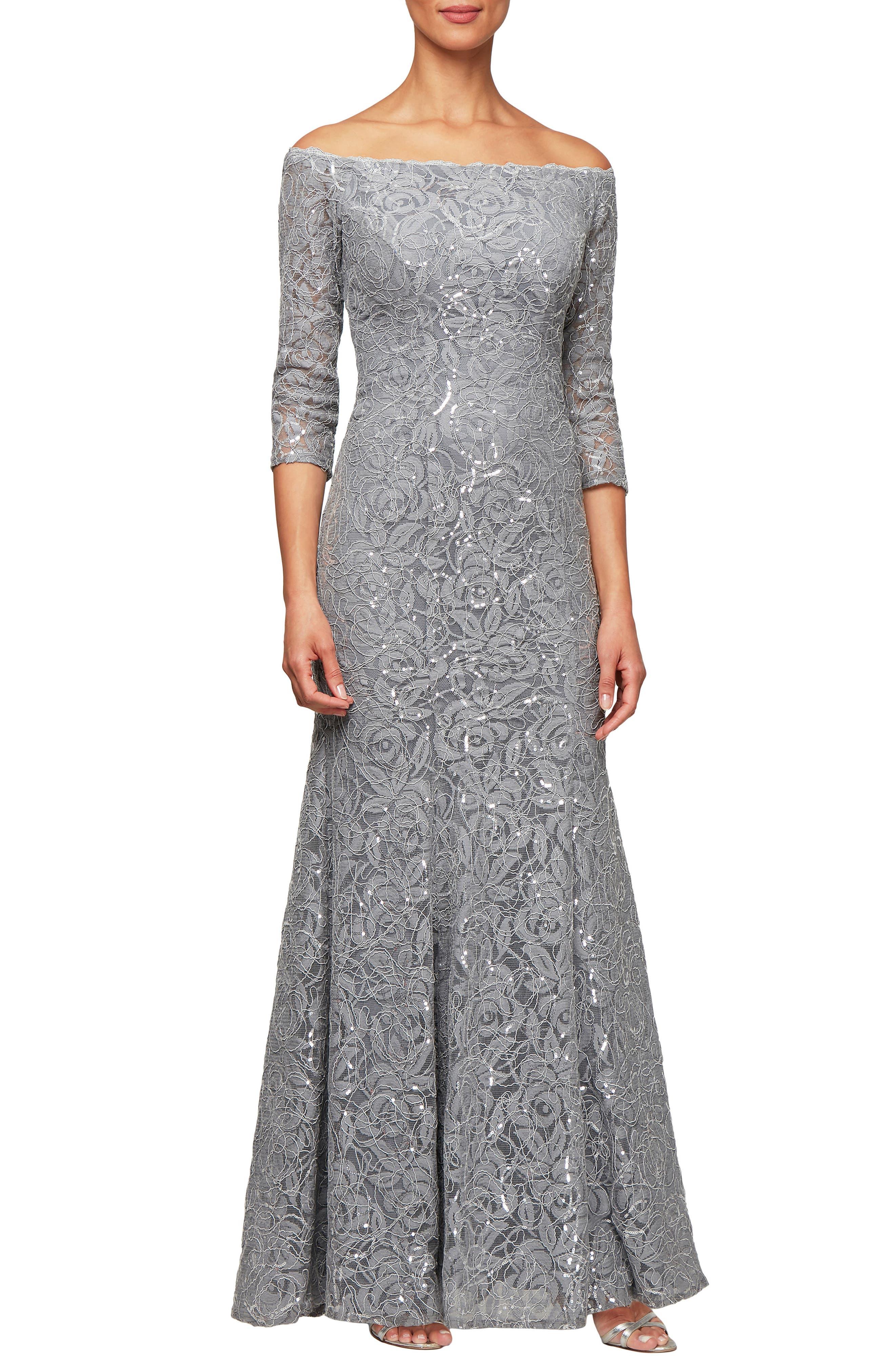 Alex Evenings Lace Off The Shoulder Evening Dress, Metallic