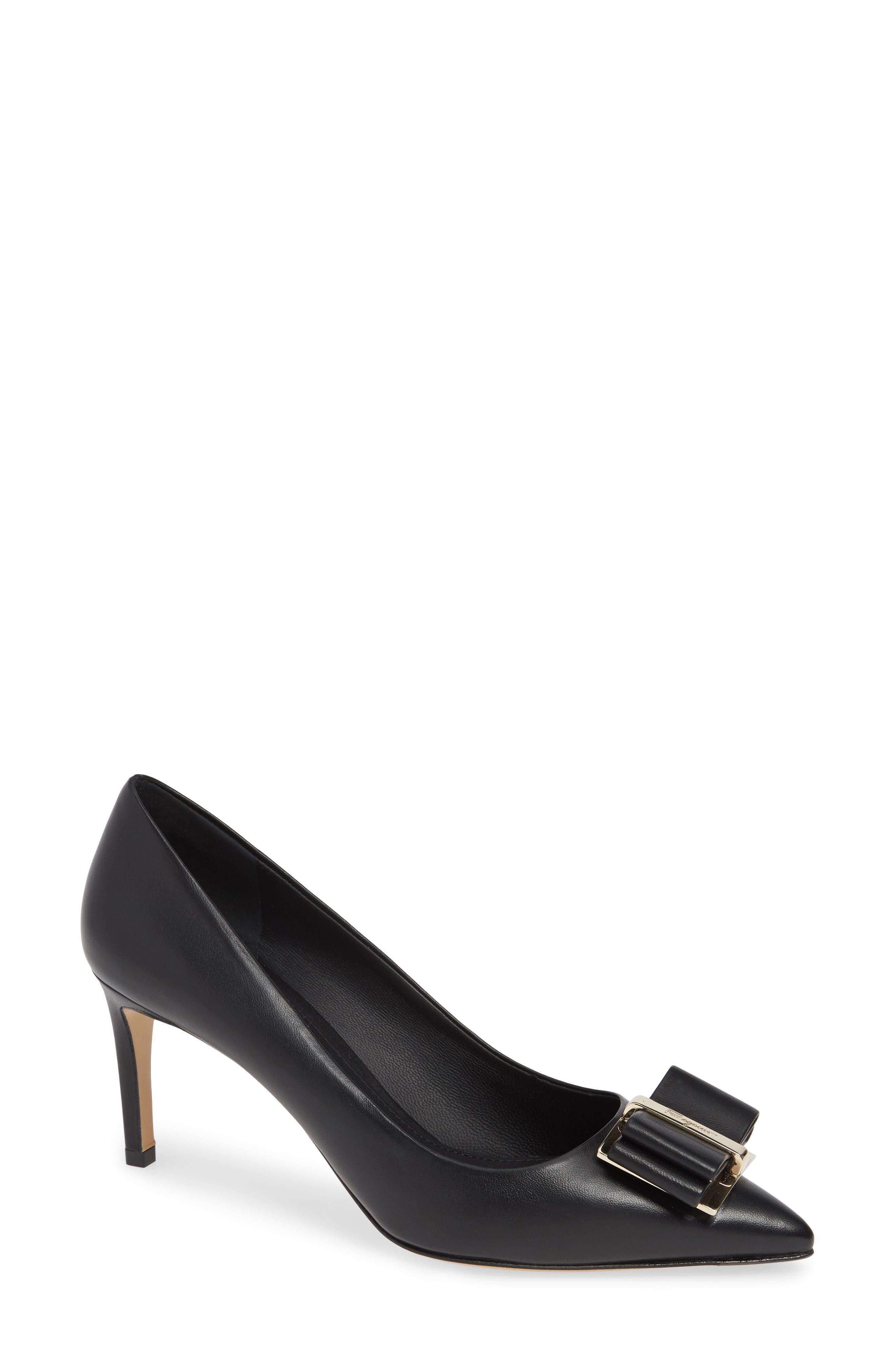 Zeri Mid-Heel Leather Bow Pumps in Black
