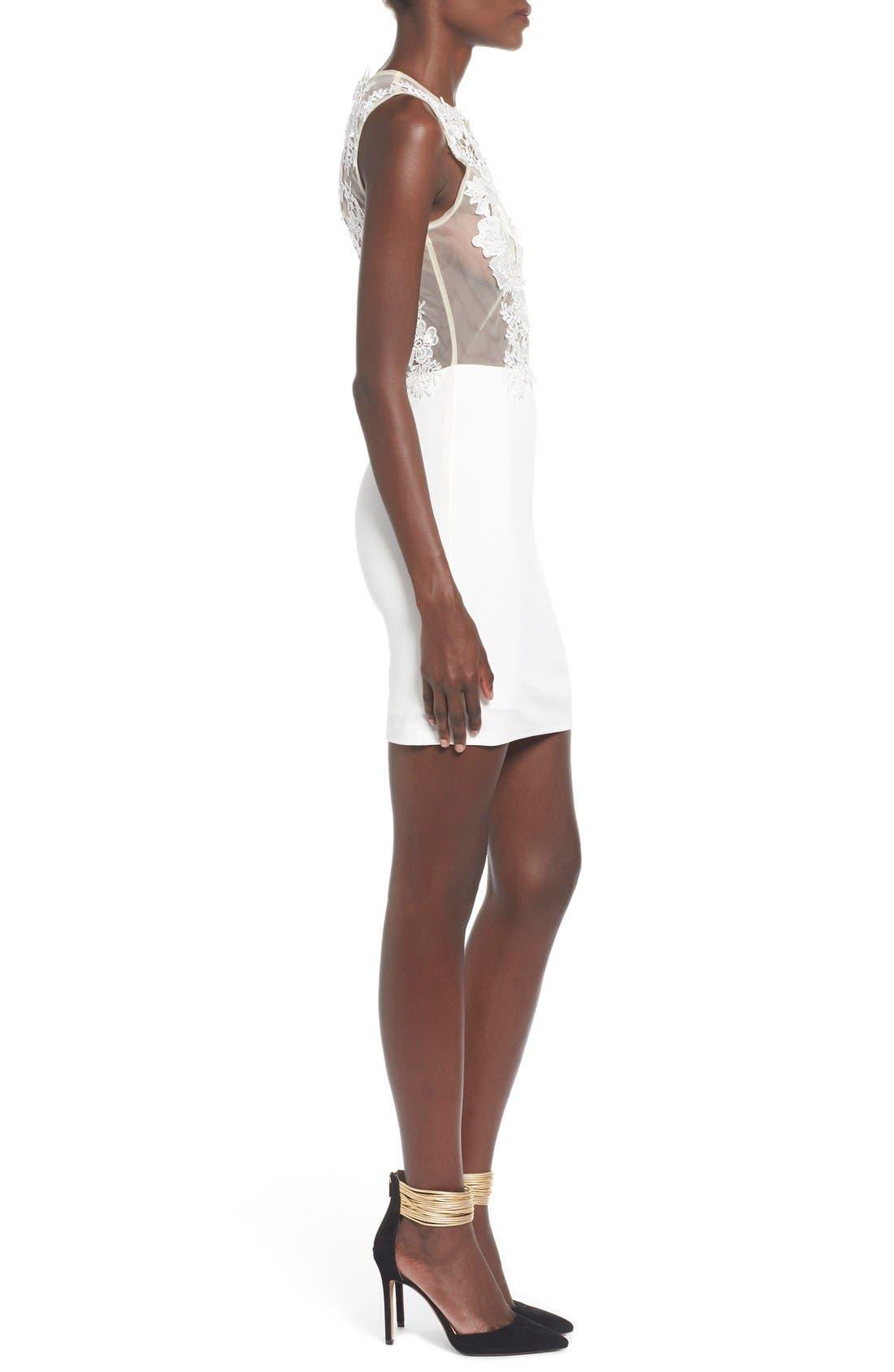 Floral Body-Con Dress,                             Alternate thumbnail 3, color,                             100