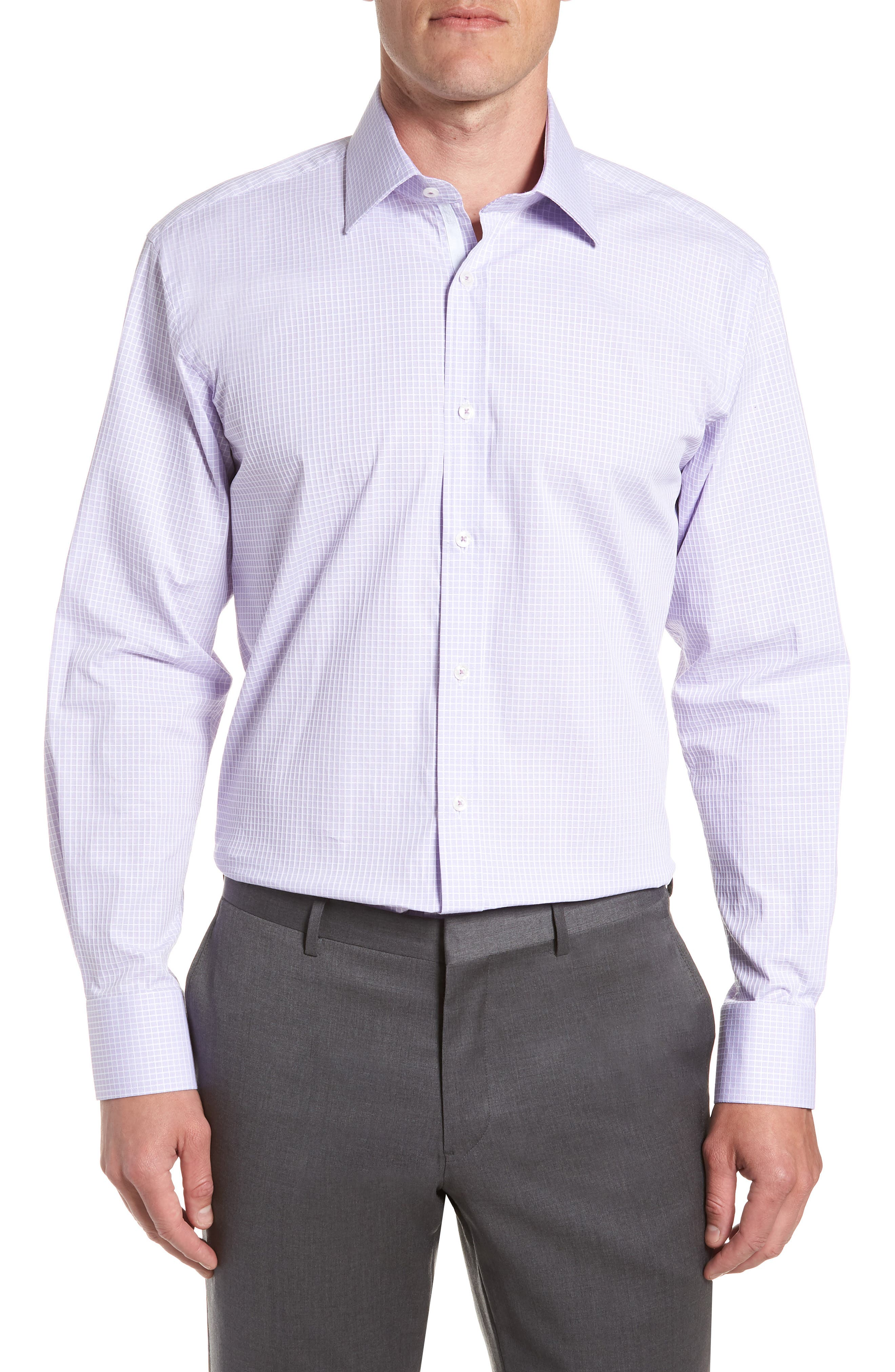 Trim Fit Stretch Check Dress Shirt,                         Main,                         color, LILAC
