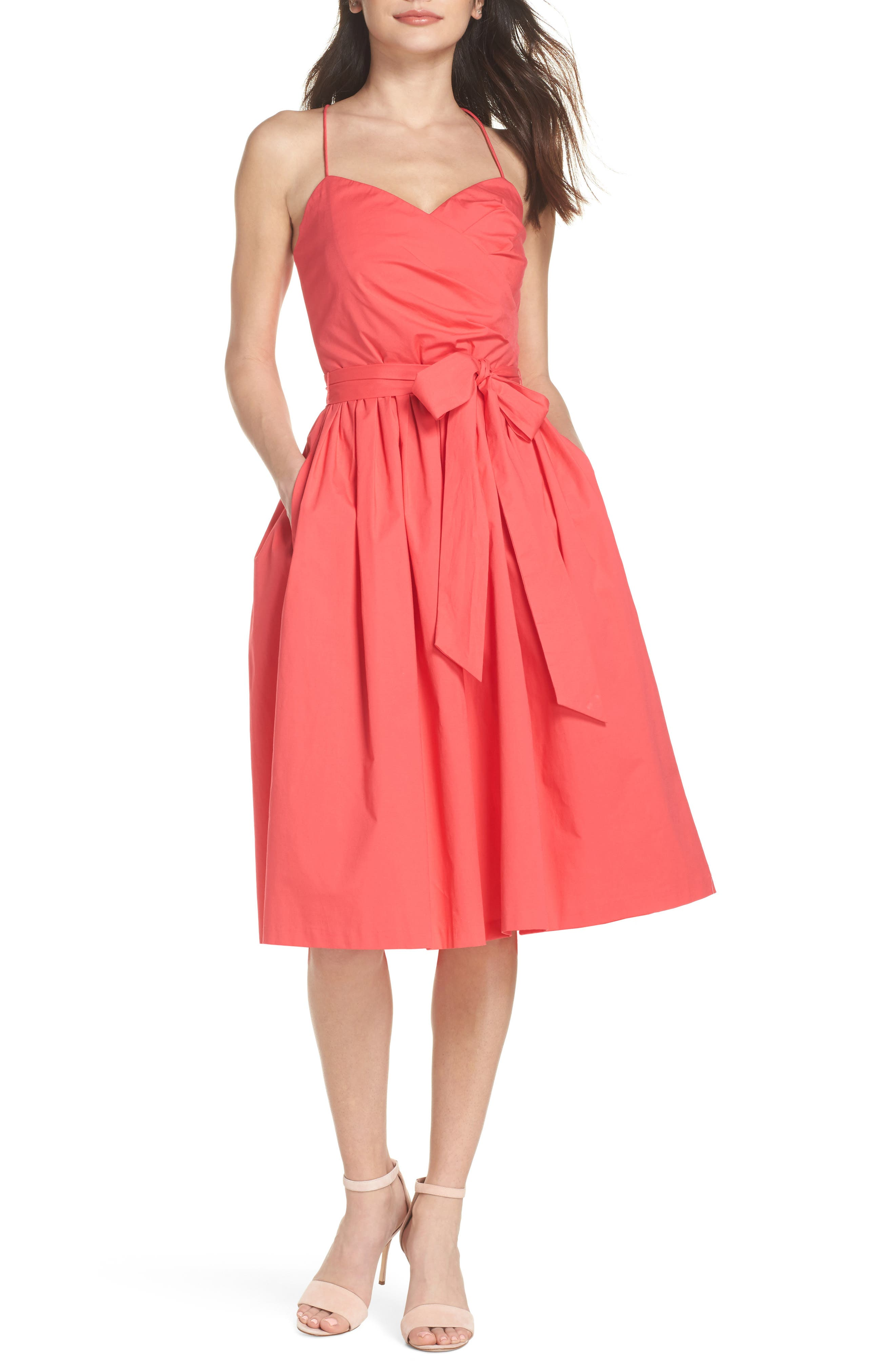 Strappy Fit & Flare Midi Dress,                             Main thumbnail 1, color,