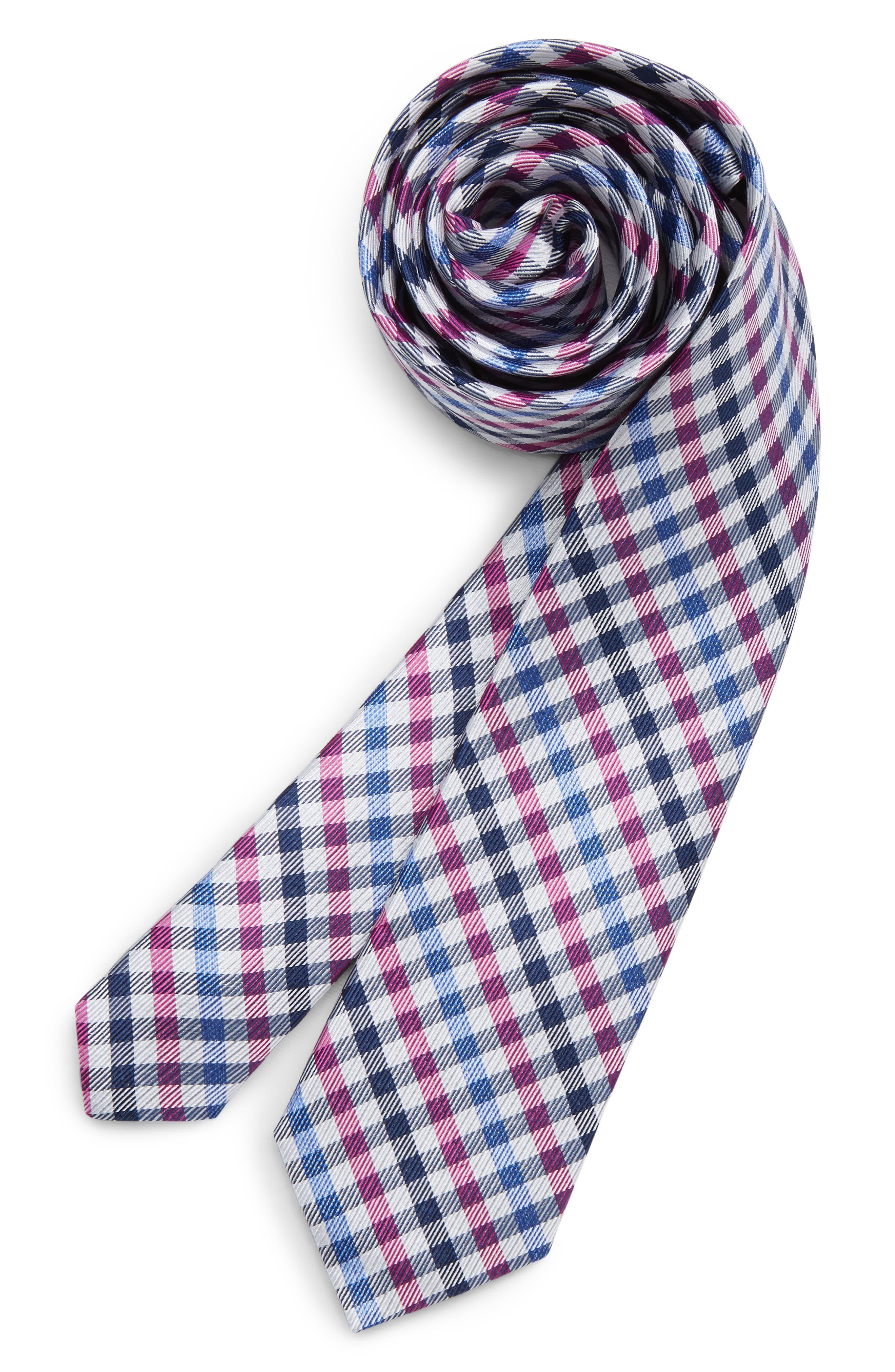 MICHAEL KORS,                             Check Silk Tie,                             Main thumbnail 1, color,                             FUCHSIA