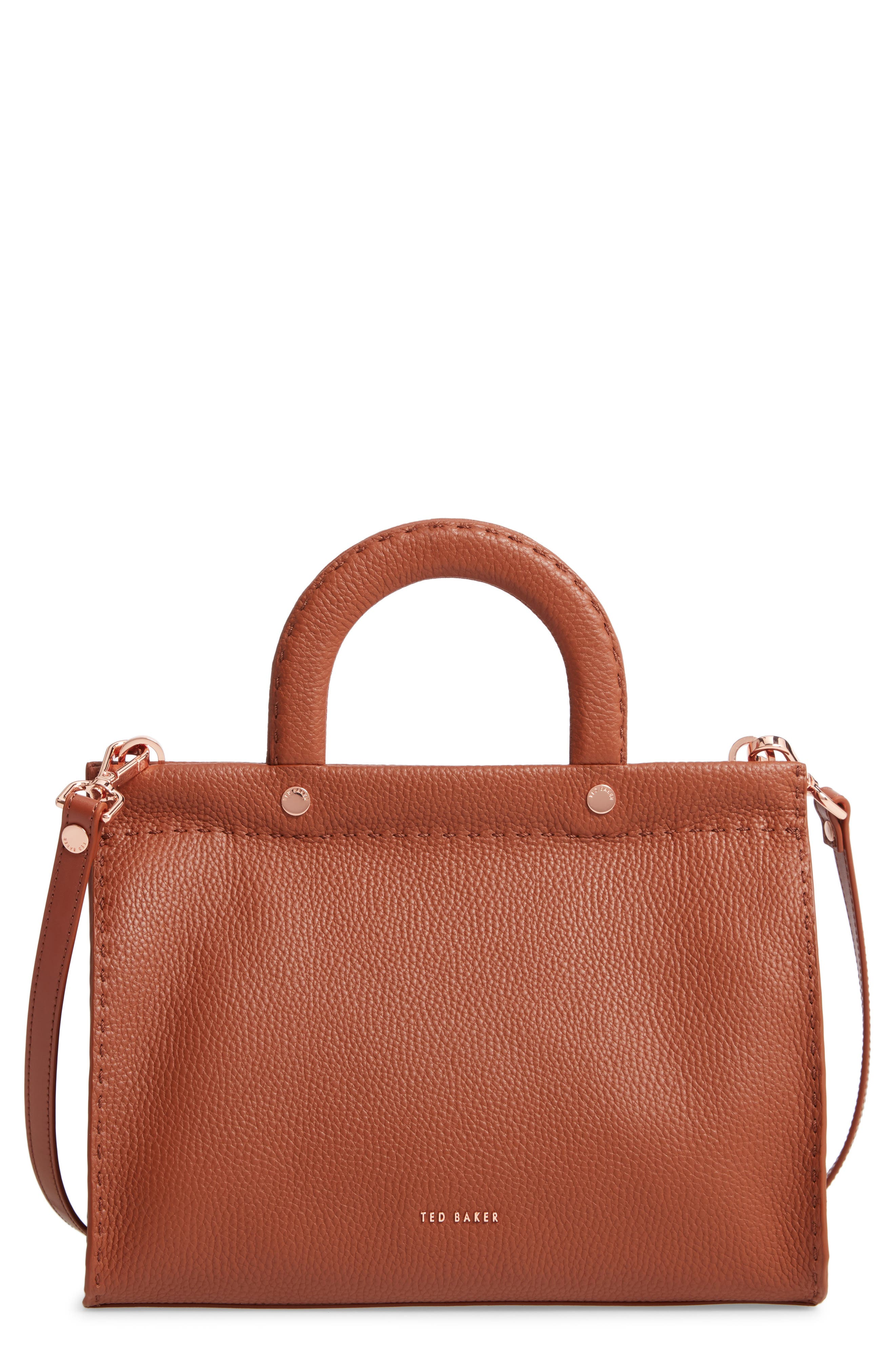 TED BAKER LONDON Monicaa Leather Satchel, Main, color, BROWN