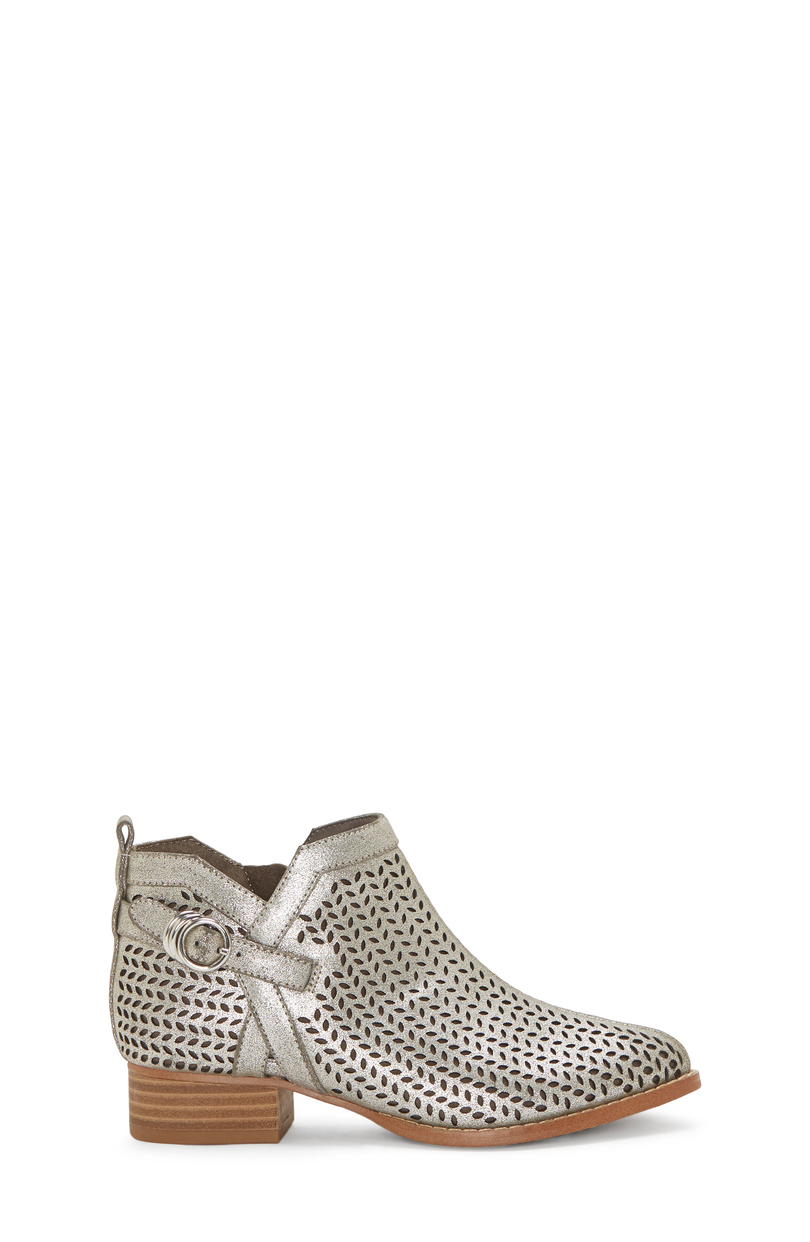Campina Perforated Bootie,                             Alternate thumbnail 3, color,                             DARK SILVER/ TAUPE