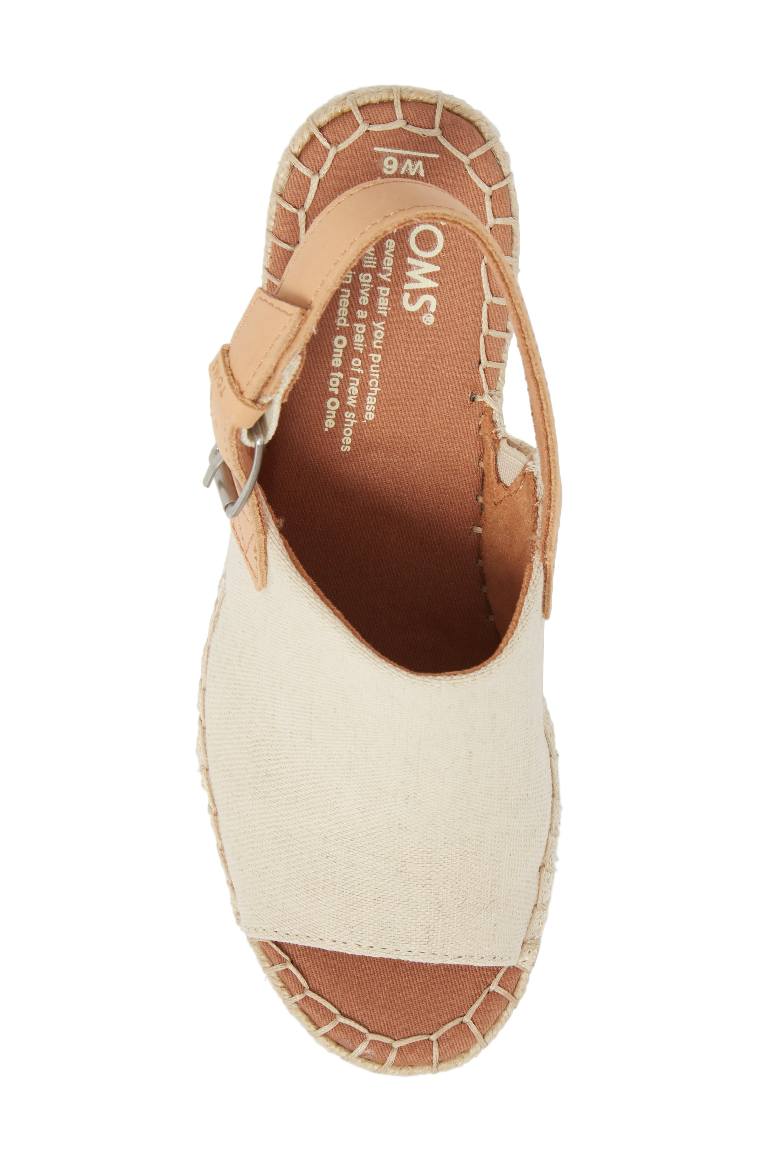 Monica Slingback Wedge,                             Alternate thumbnail 5, color,                             NATURAL HEMP/ LEATHER