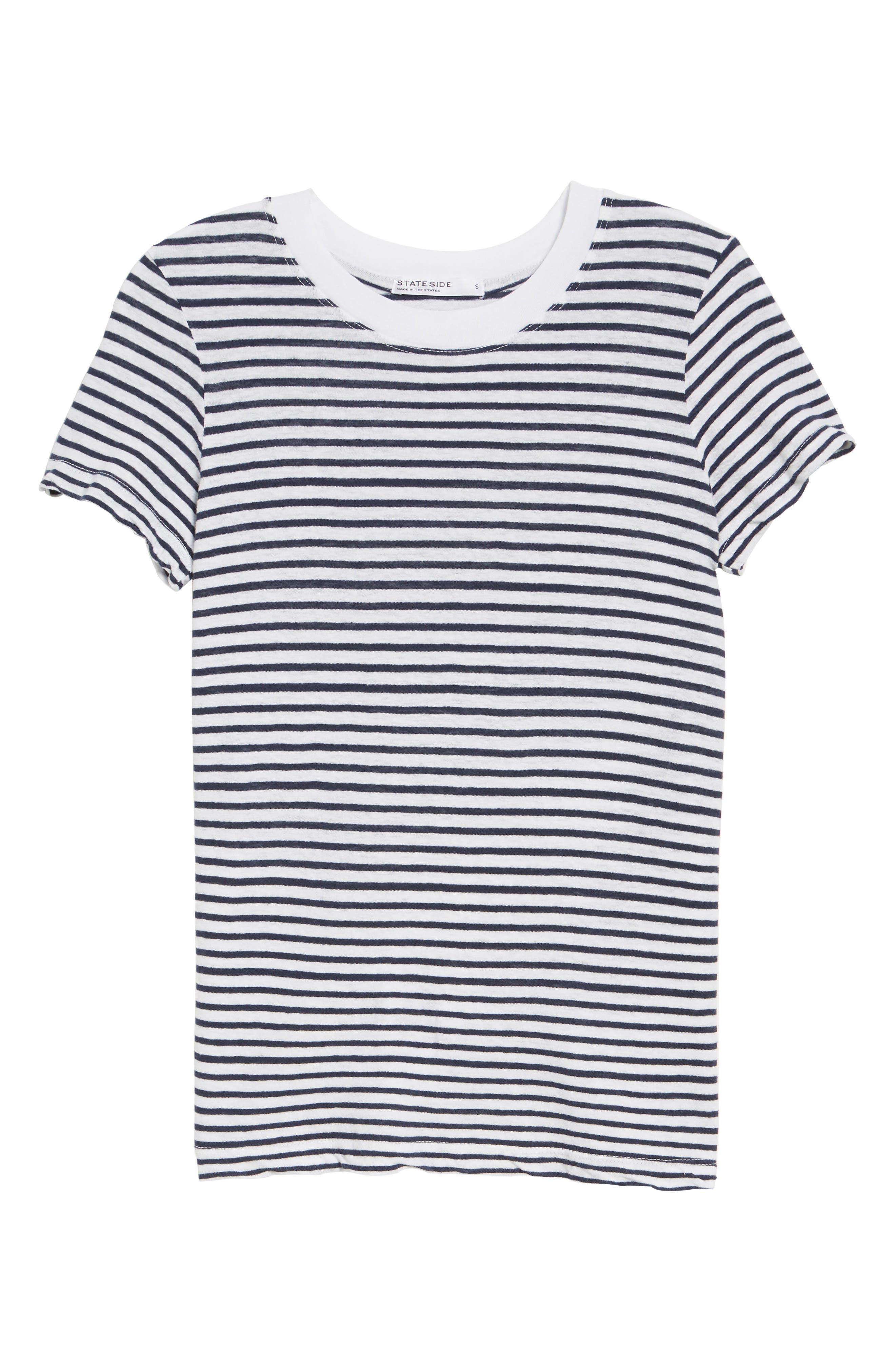 Stripe Linen Blend Boy Tee,                             Alternate thumbnail 6, color,                             400