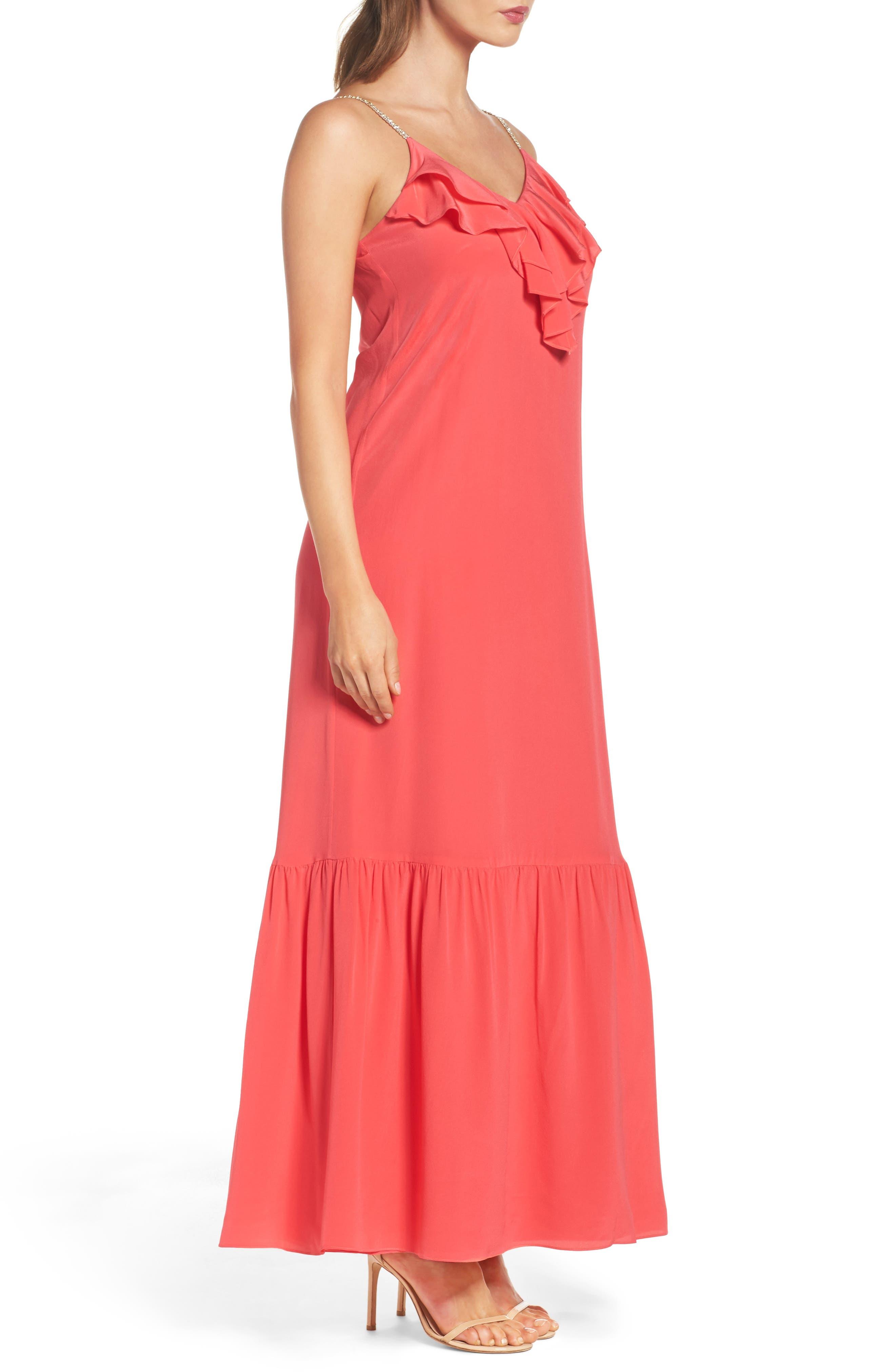 Ruffle Silk Maxi Dress,                             Alternate thumbnail 3, color,                             620