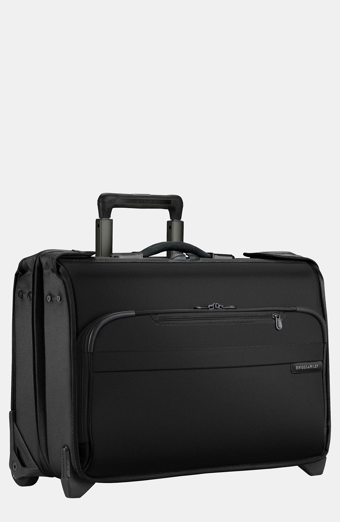 'Baseline' Rolling Carry-On Garment Bag,                             Main thumbnail 1, color,                             BLACK