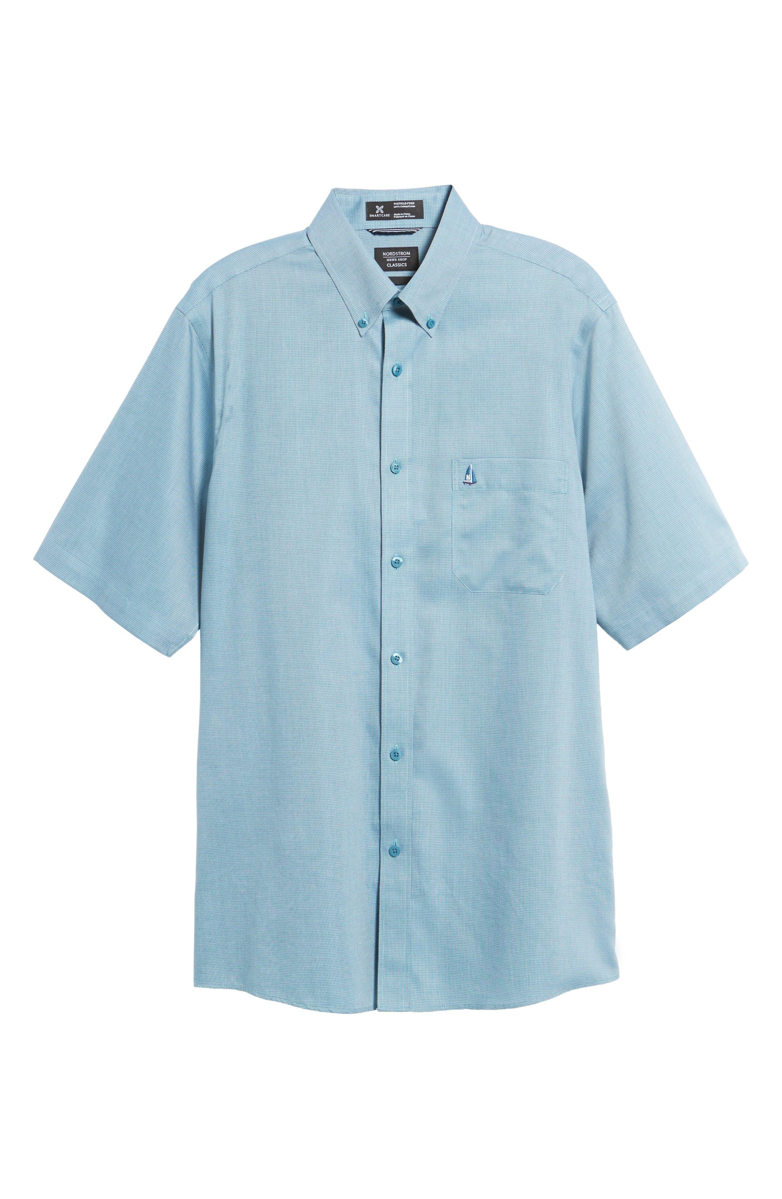 'Classic' Smartcare<sup>™</sup> Regular Fit Short Sleeve Cotton Sport Shirt,                             Alternate thumbnail 100, color,