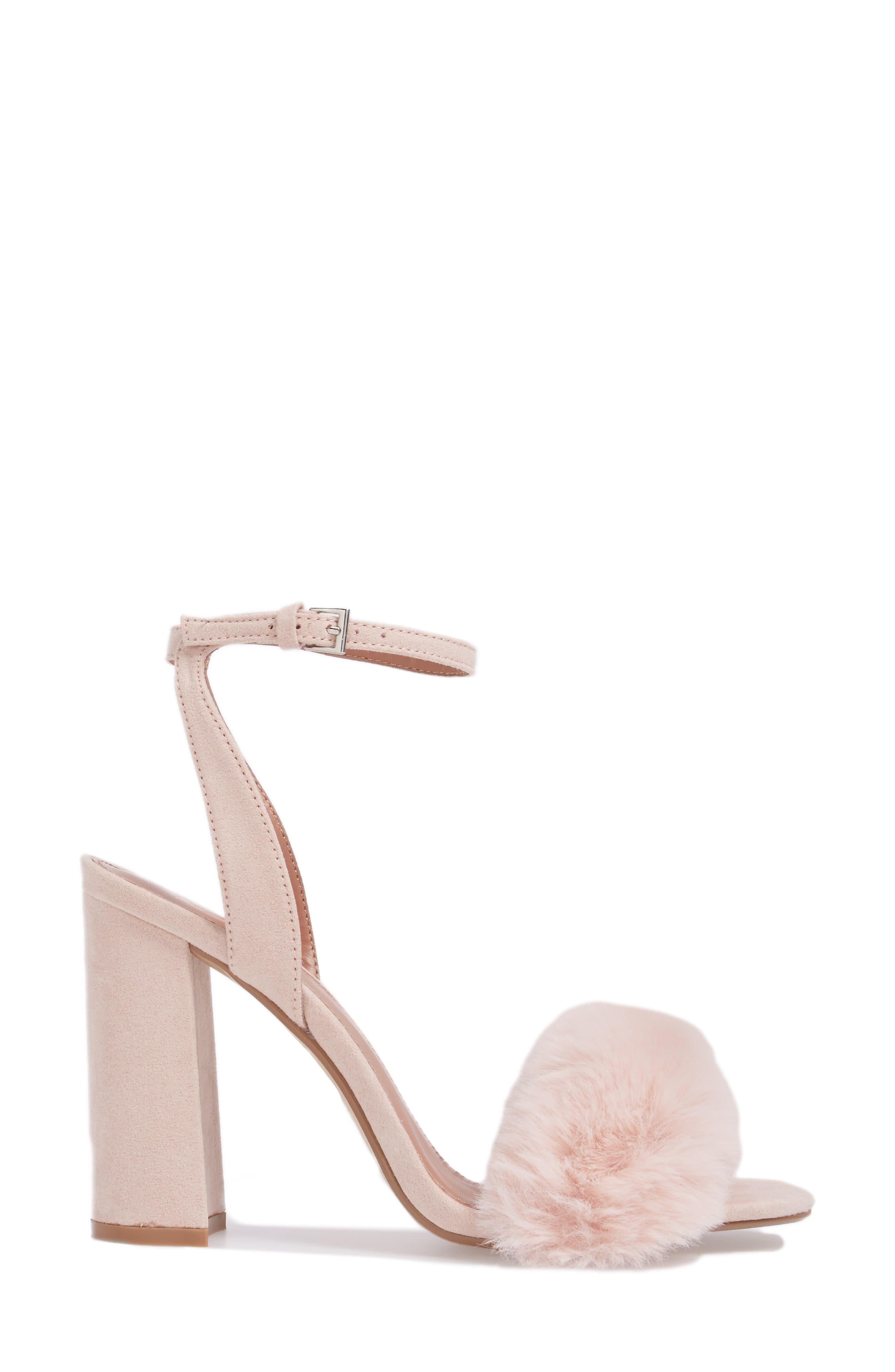 Maison Faux Fur Block Heel Sandal,                             Alternate thumbnail 3, color,                             250