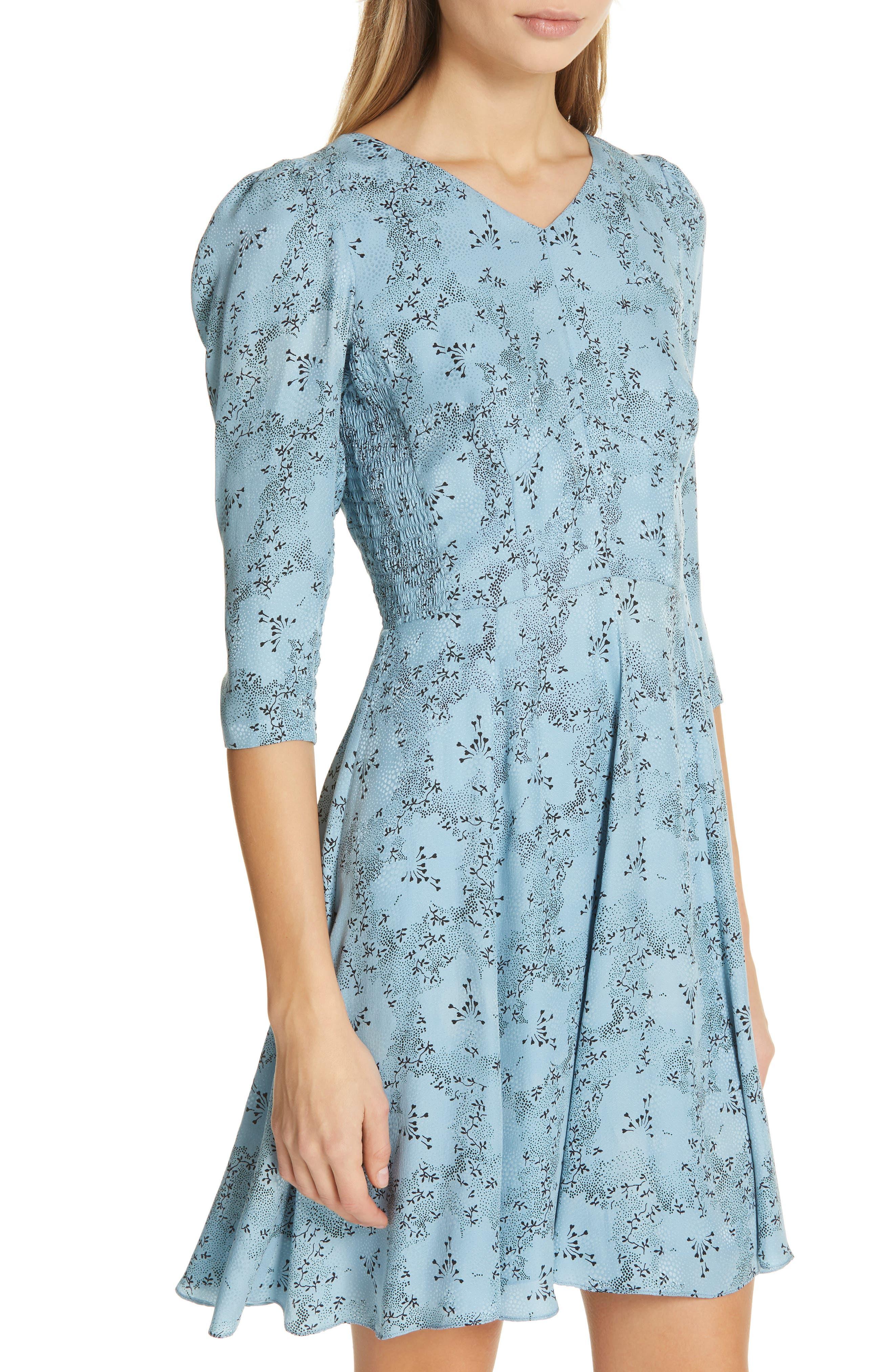 Gianna Floral Silk Dress,                             Alternate thumbnail 4, color,                             LAGOON COMBO