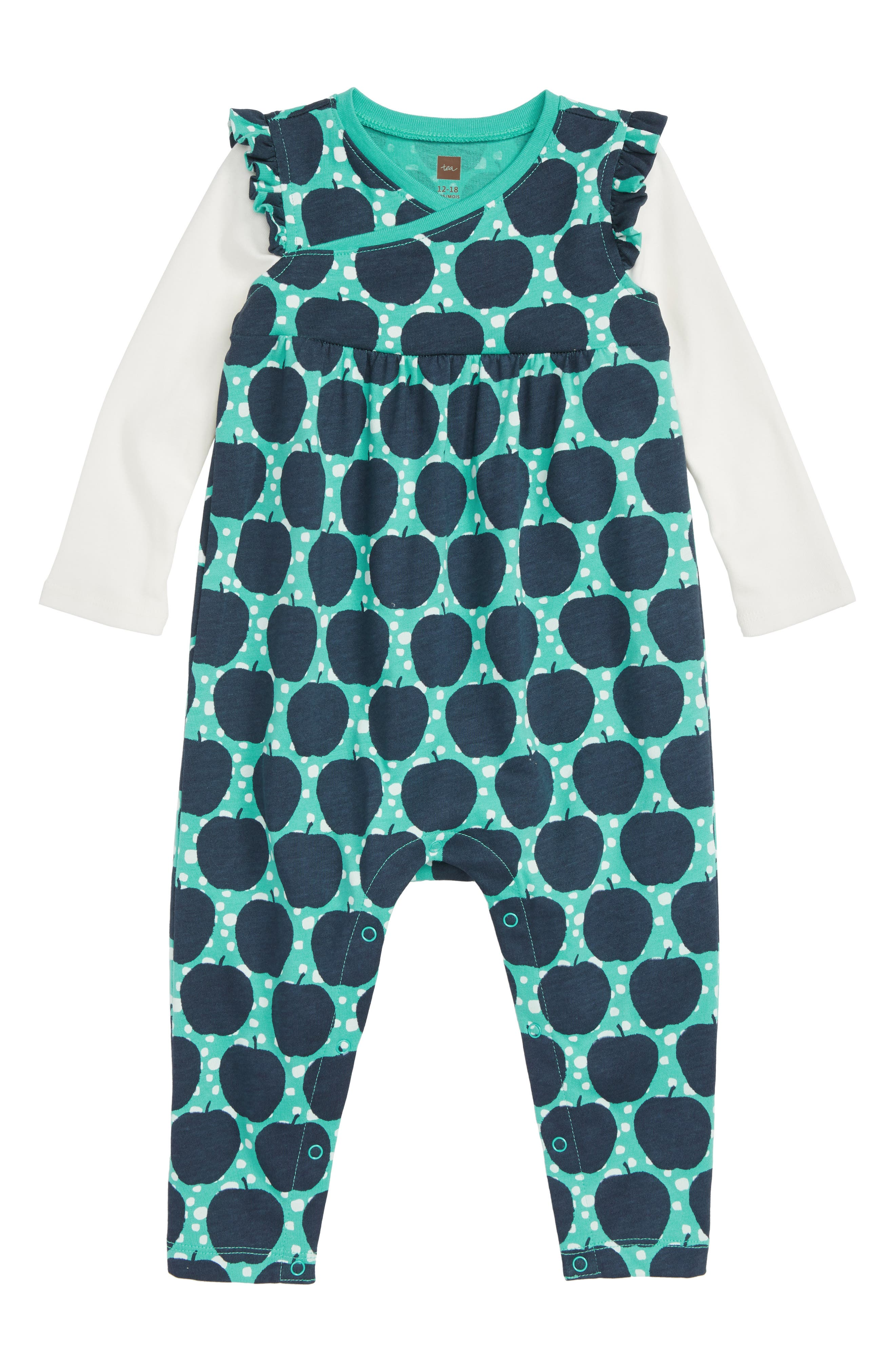 Double Decker Flutter Romper,                             Main thumbnail 1, color,                             APPLE WAX PRINT