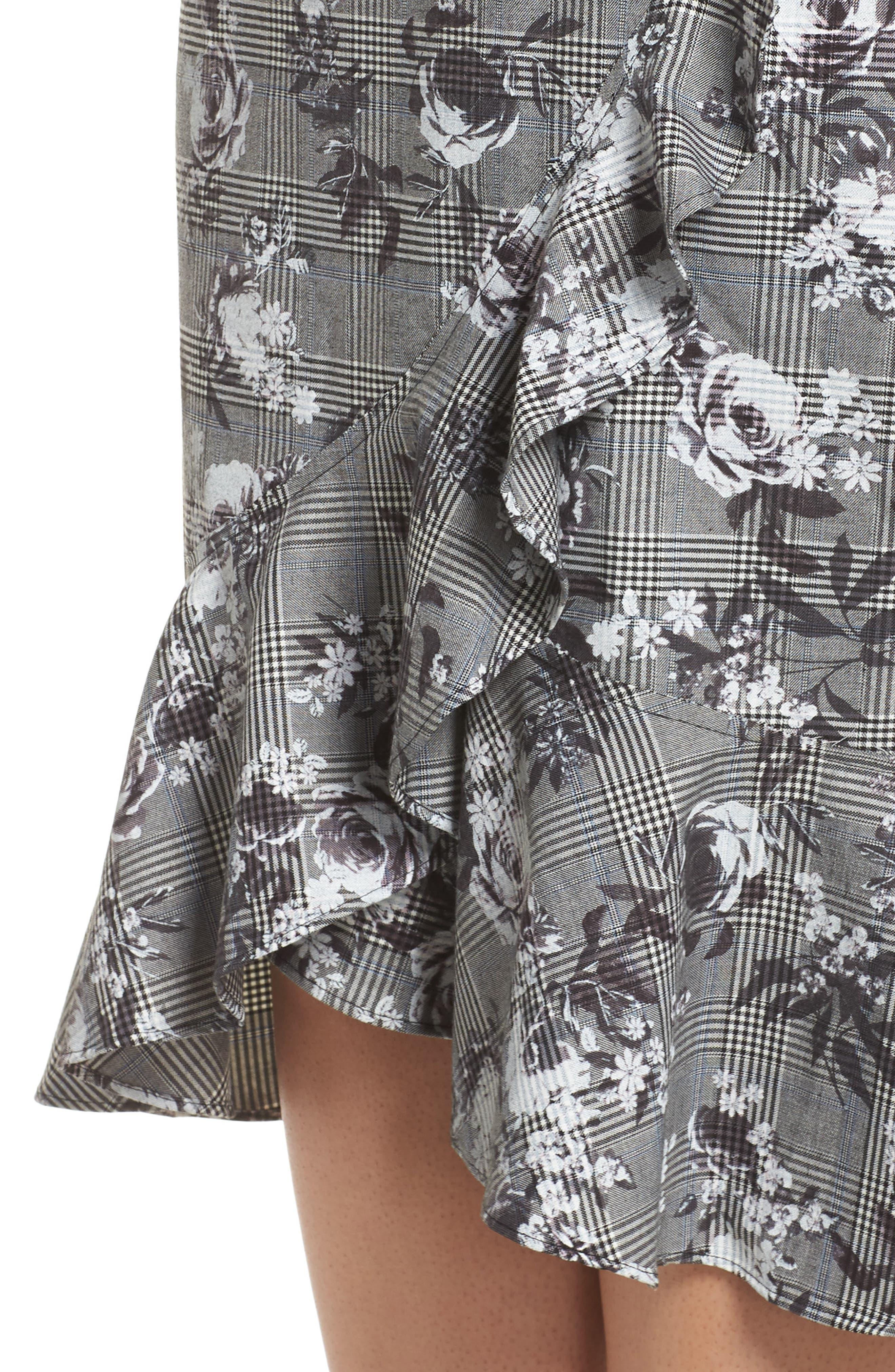 Bailen Pattern Mix Skirt,                             Alternate thumbnail 4, color,                             GREY COMBO