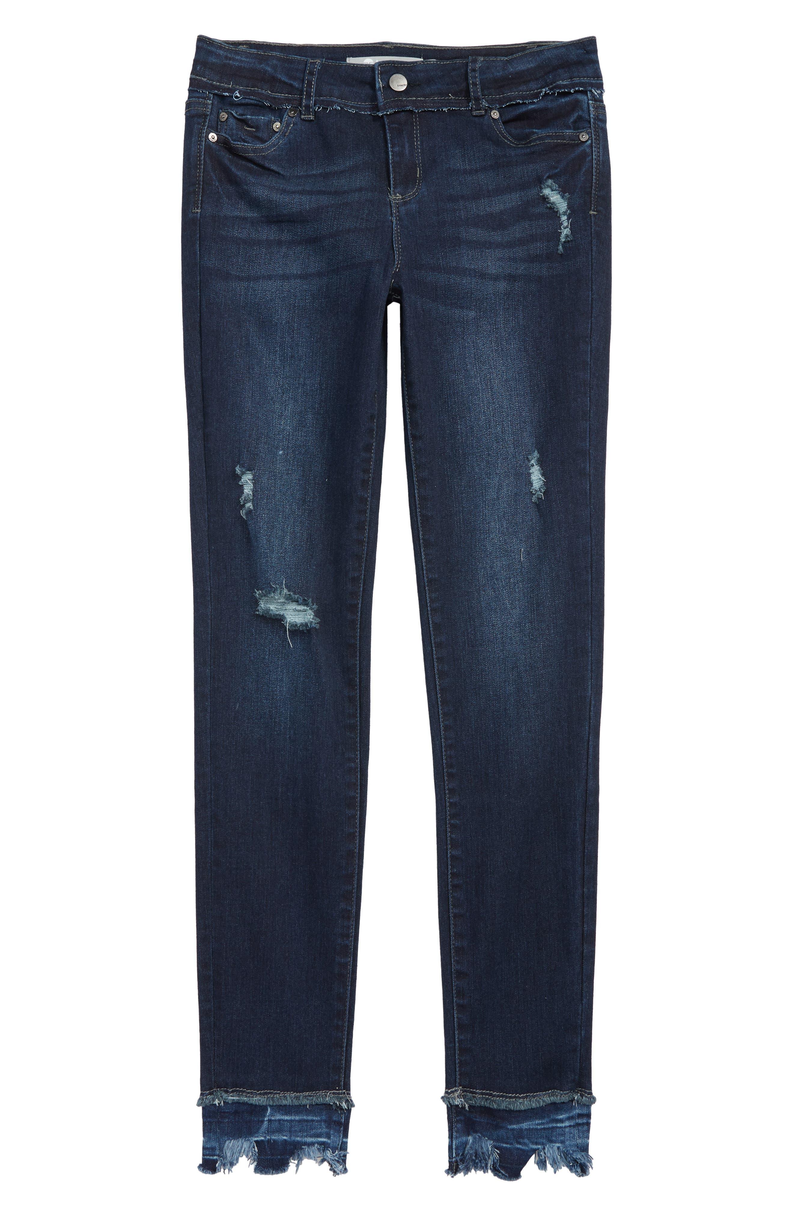 Distressed Frayed Bite Hem Skinny Jeans,                             Main thumbnail 1, color,                             DARK INDIGO