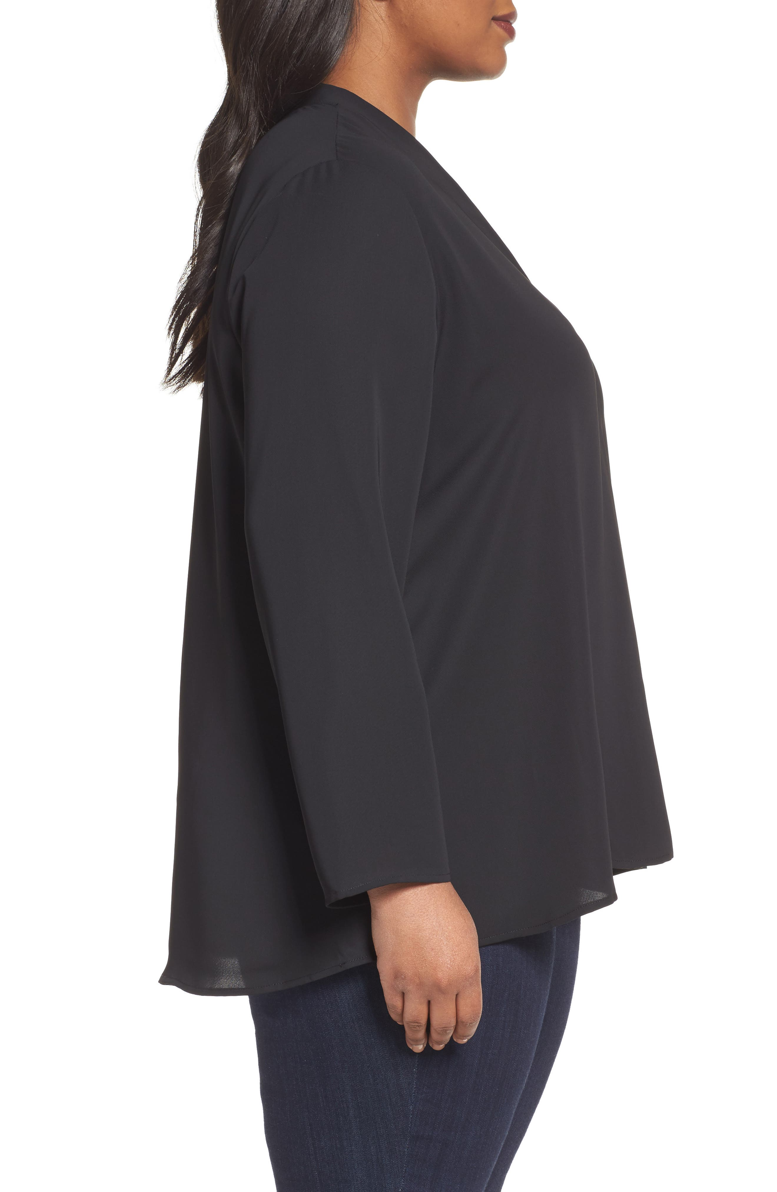 Majestic Matte Satin Blouse,                             Alternate thumbnail 3, color,                             004