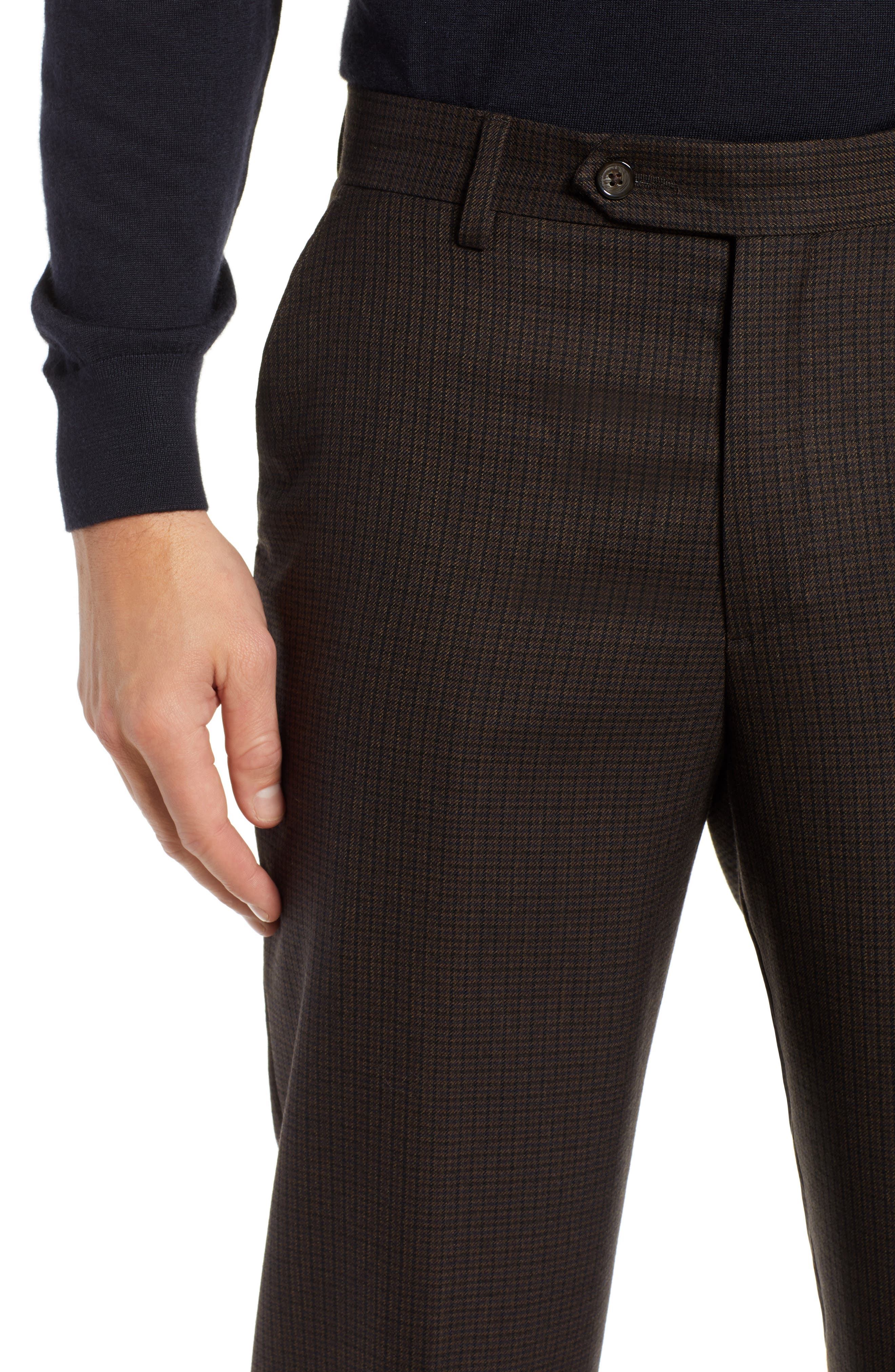 Manufacturing Flat Front Check Wool Trousers,                             Alternate thumbnail 4, color,                             BLACK