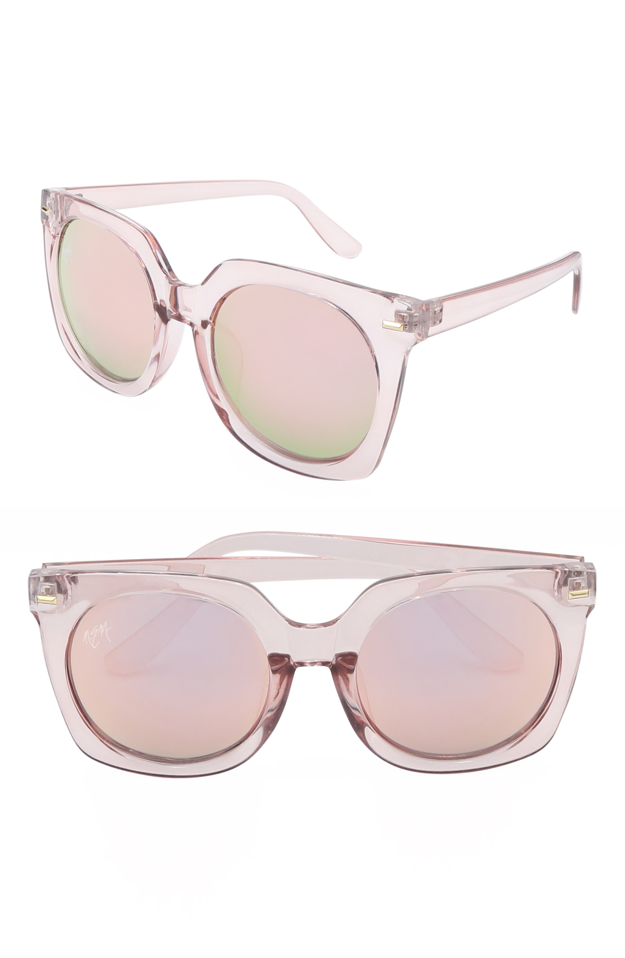 Melrose 55mm Square Sunglasses,                             Main thumbnail 1, color,                             CLEAR CANDY PINK W PINK TINT